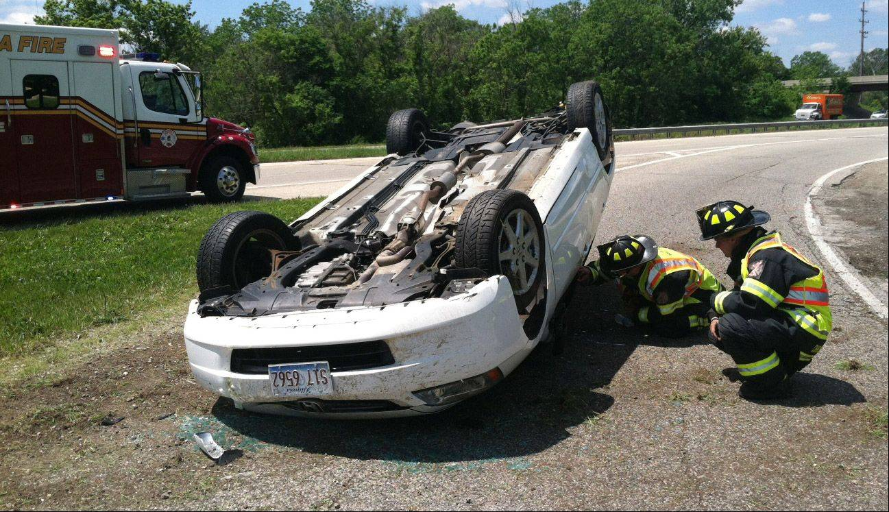 One woman was injured Monday after rolling her car on Route 12 in Wauconda.