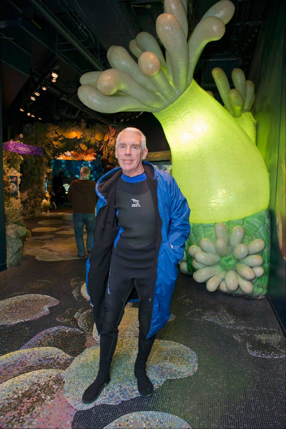 "Lou Nesslar has done volunteer work at the Shedd Aquarium for 10 years. ""I'm working harder now than when I was working,"" he says. ""It's unreal."""