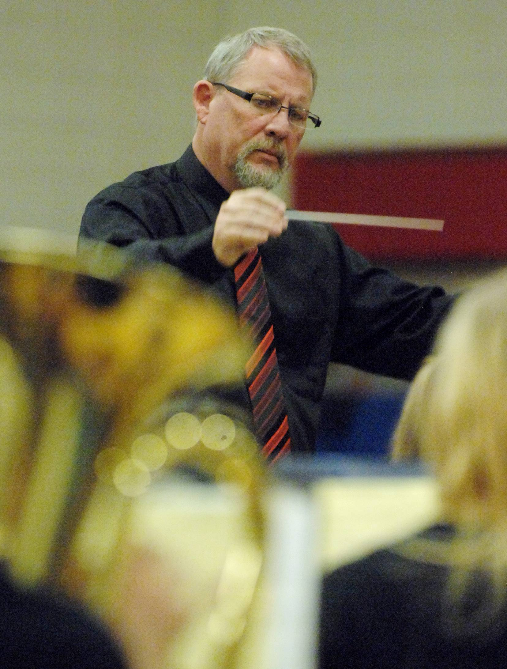 John Harshey conducts the West Oak Middle School's Symphonic Band.