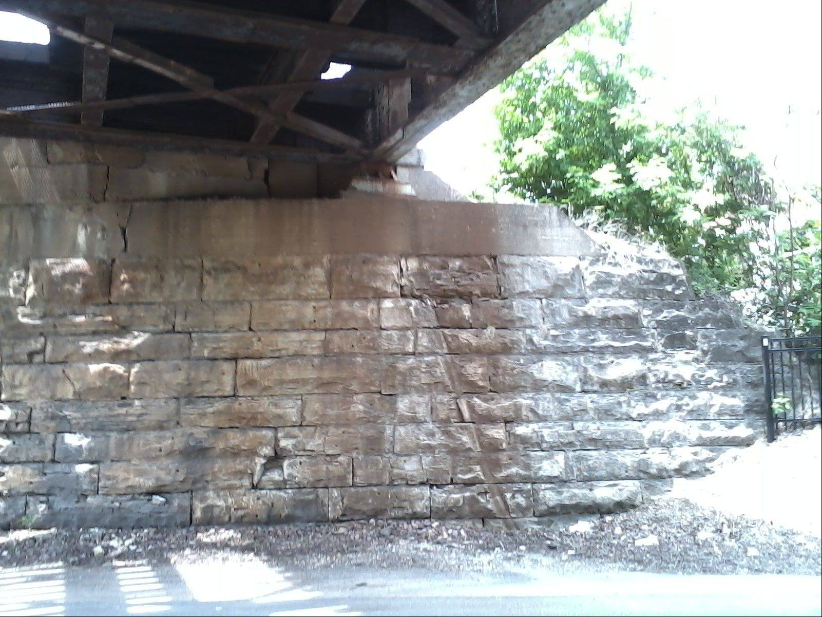 "courtesy of Anne FabingUnion Pacific Railroad engineers say this bridge at Route 31 in Geneva is structurally sound but workers will make ""cosmetic"" repairs this summer."