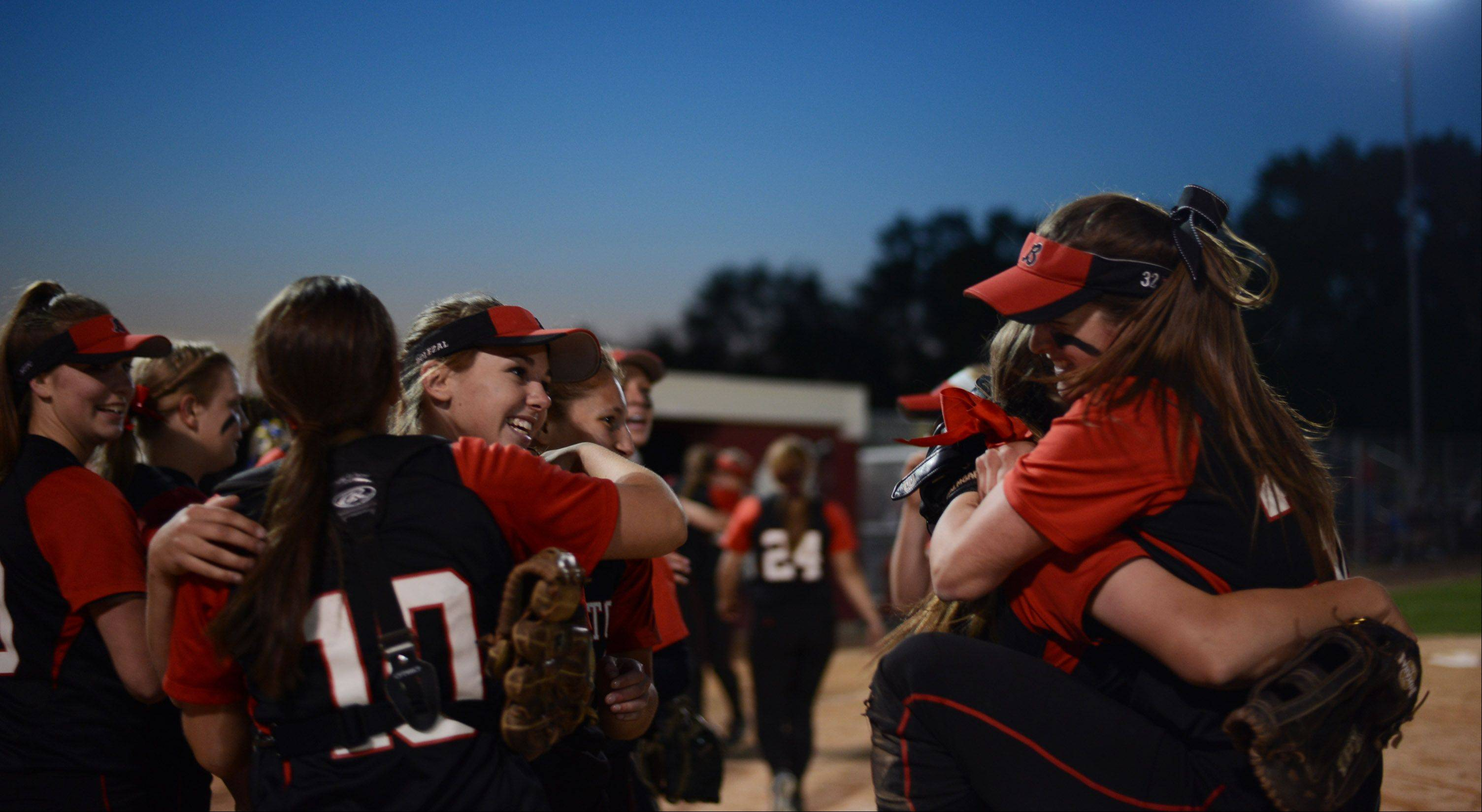 Barrington players celebrate their 8-3 victory over Warren in Monday's Class 4A supersectional.