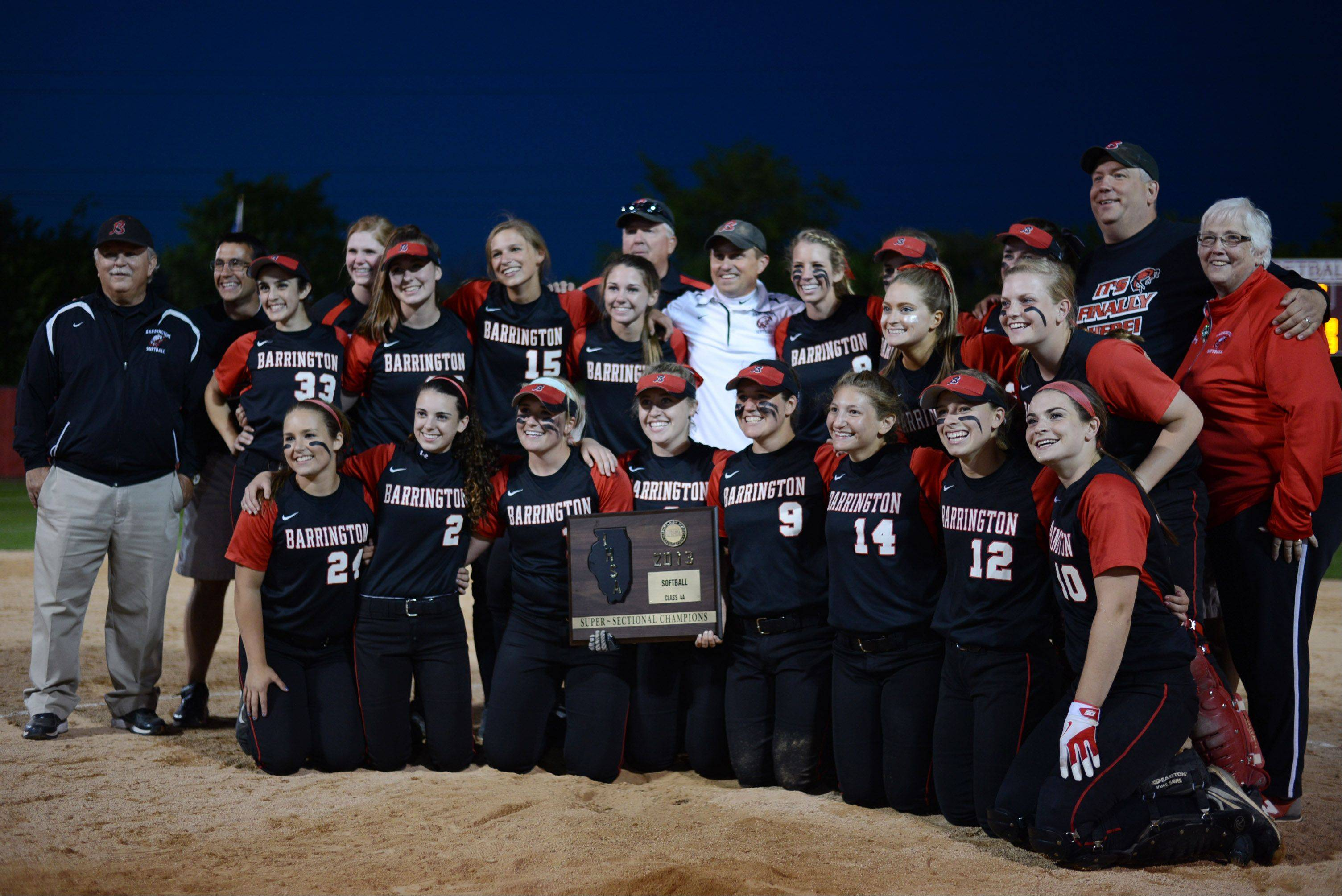 Barrington savors in the moment after topping Warren 8-3 in Class 4A supersectional action Monday.