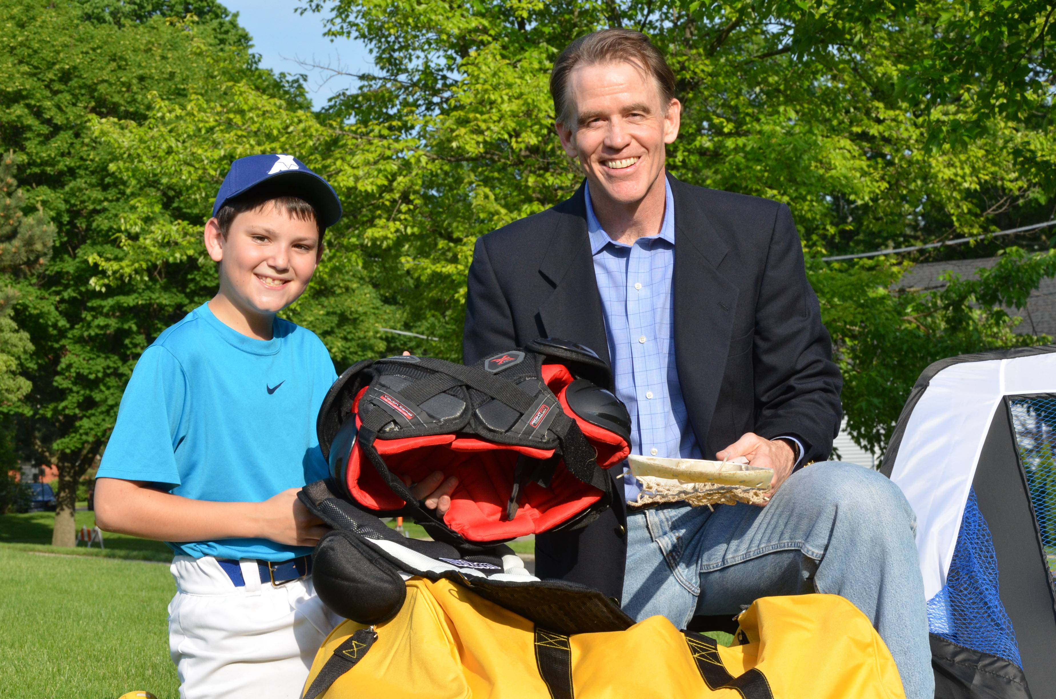 Gear for Goals' newly appointed Youth Ambassador Jared Kuper poses with G4G Executive Director Dr. Warren Bruhl with sports gear collected for children in Guatemala.