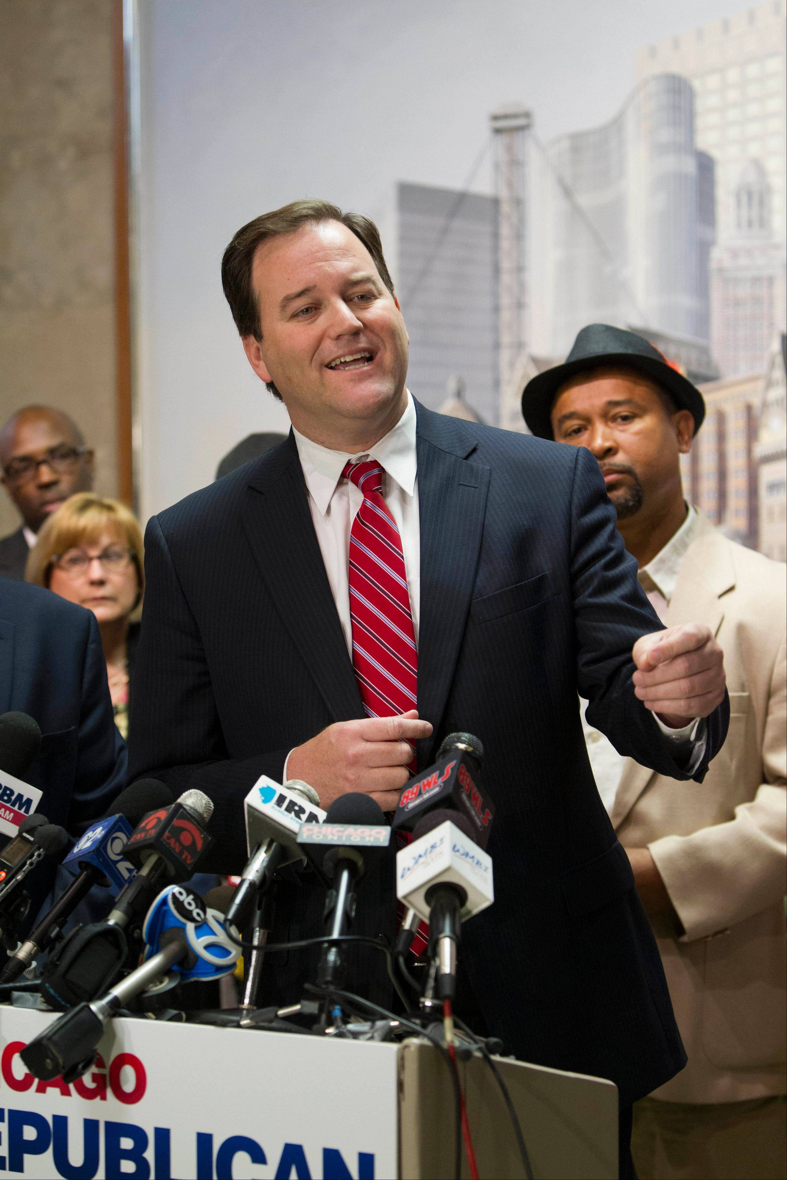 State Sen. Matt Murphy, a Palatine Republican, speaks at a news conference Tuesday in Chicago where the Chicago Republican Party announced it was launching a candidate recruitment program and advertising campaign in the Democratic-dominated city.