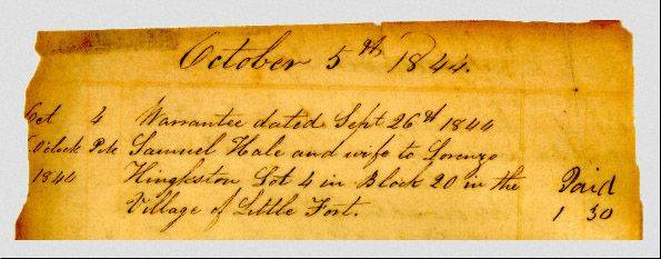 The first Lake County property transaction, recorded in 1844.