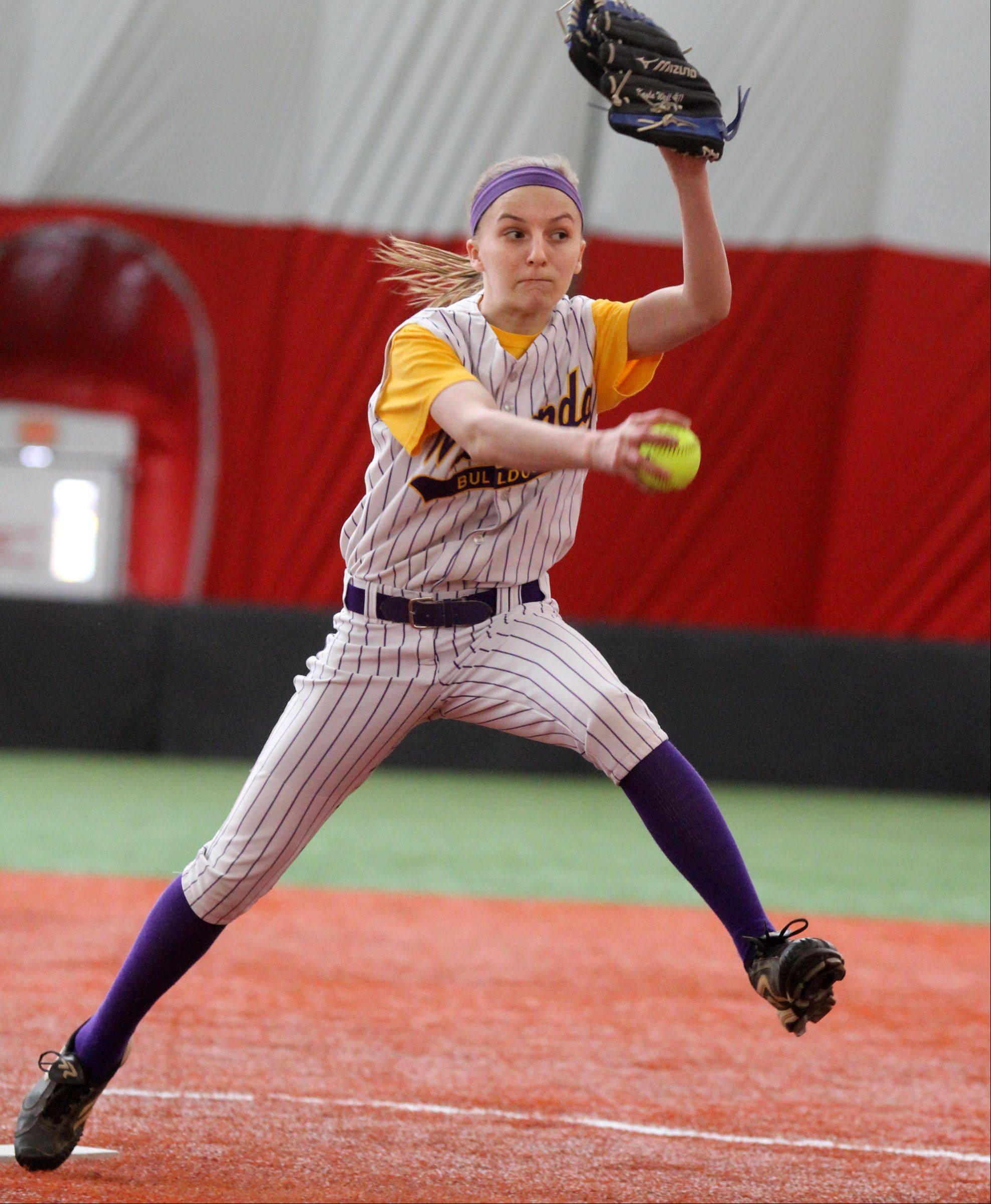 Wauconda High School girls softball pitcher Kayla Wedl played in March in Rosemont's air-supported sports dome. A similar sports dome proposal has surfaced in Grayslake.