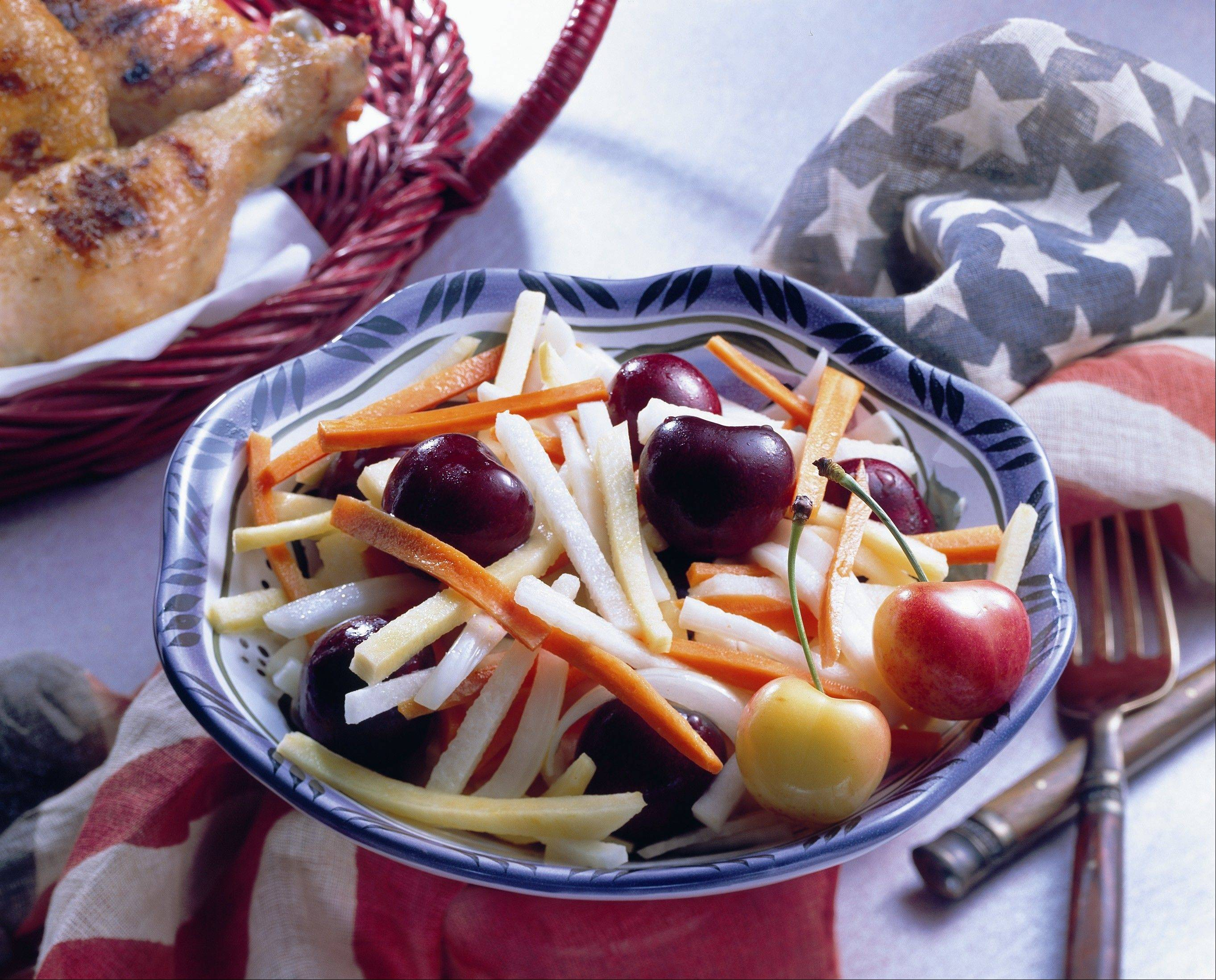 Fresh cherries brighten up a summer salad.