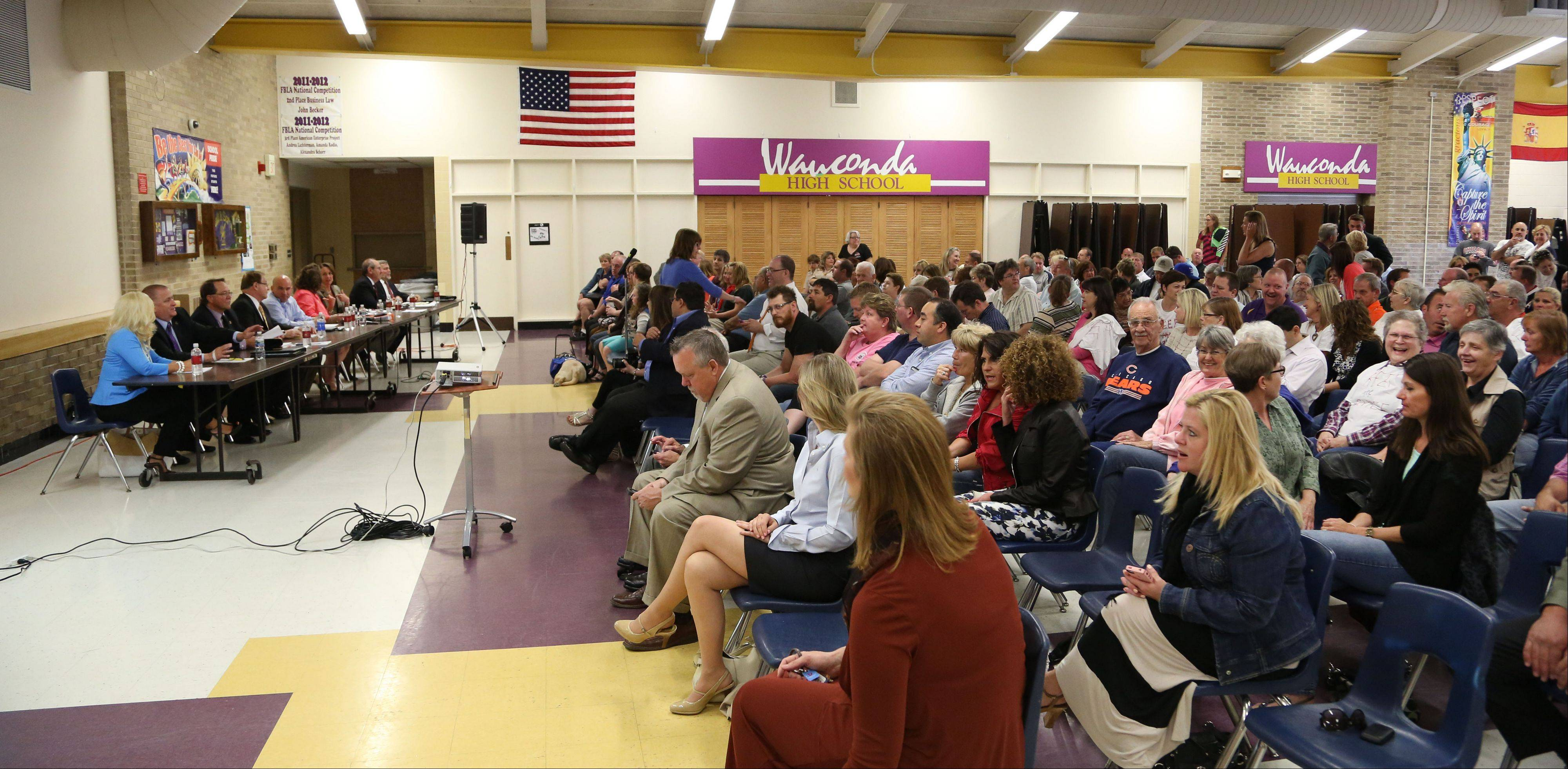 More than 200 people showed up to the village board meeting at Wauconda High School to discuss the removal of Wauconda Police Chief Doug Larsson Tuesday night.