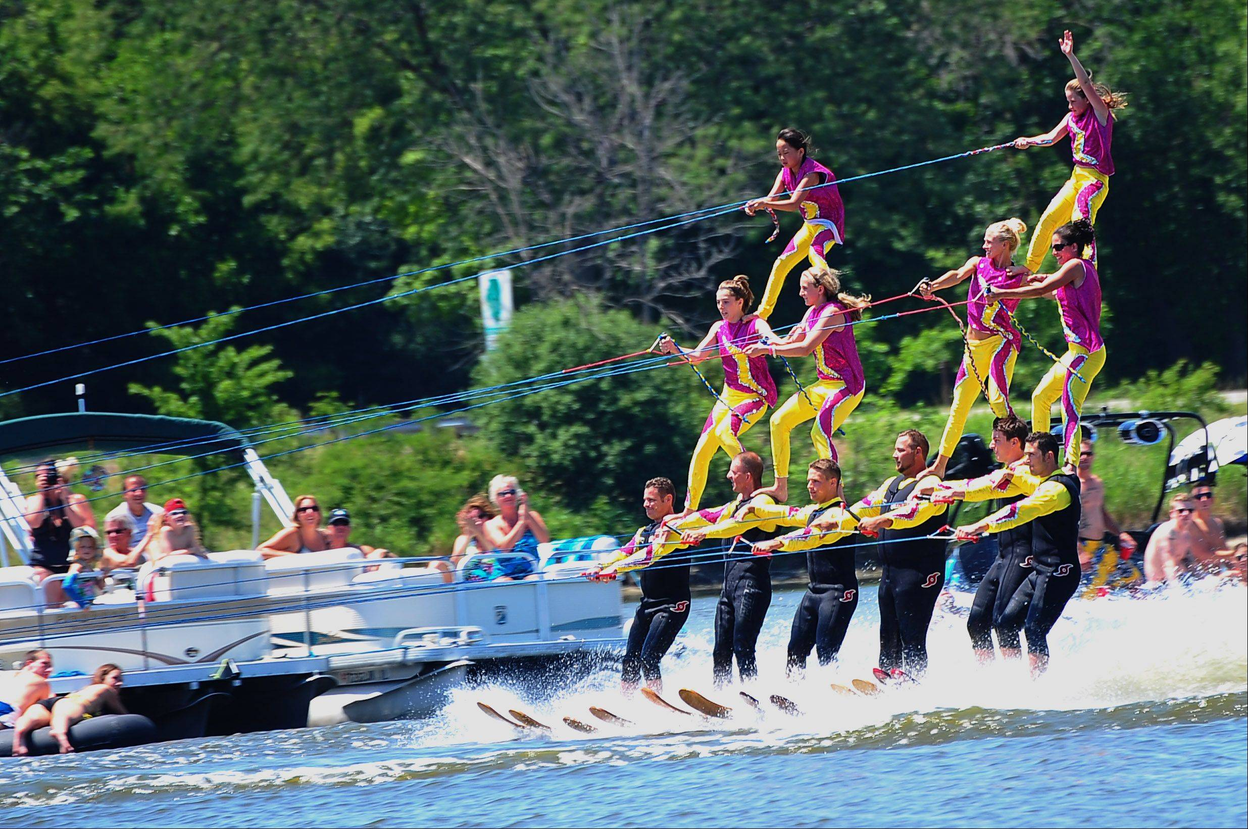 Members of the Wonder Lake Ski Team entertain spectators and boaters at last year's RiverFest.
