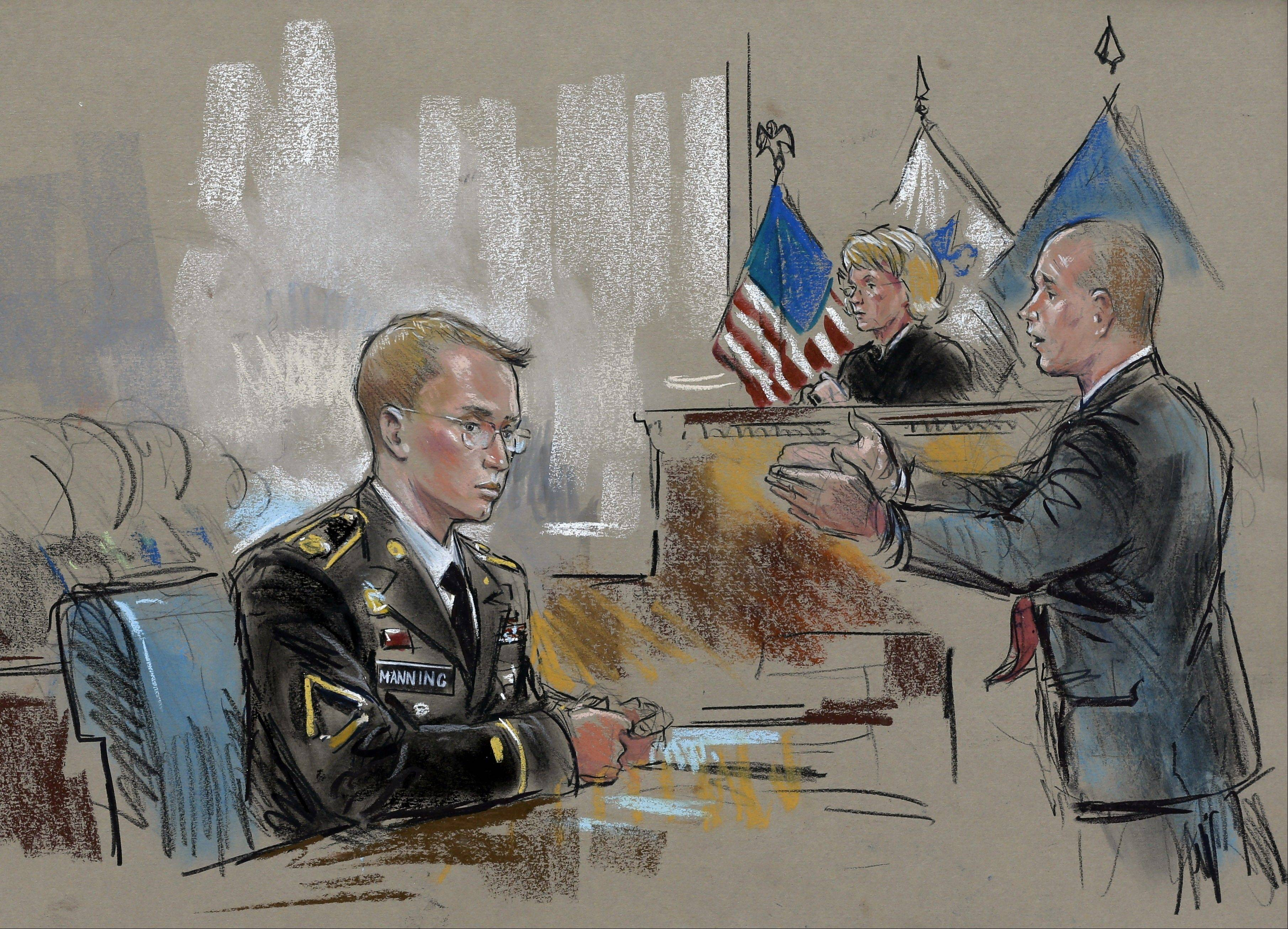 In this courtroom sketch, Army Pfc. Bradley Manning watches at left as his defense attorney, David Coombs, right, speaks in front of military judge Army Col. Denise Lind on the opening day of Manning's court martial in Fort Meade, Md., Monday.