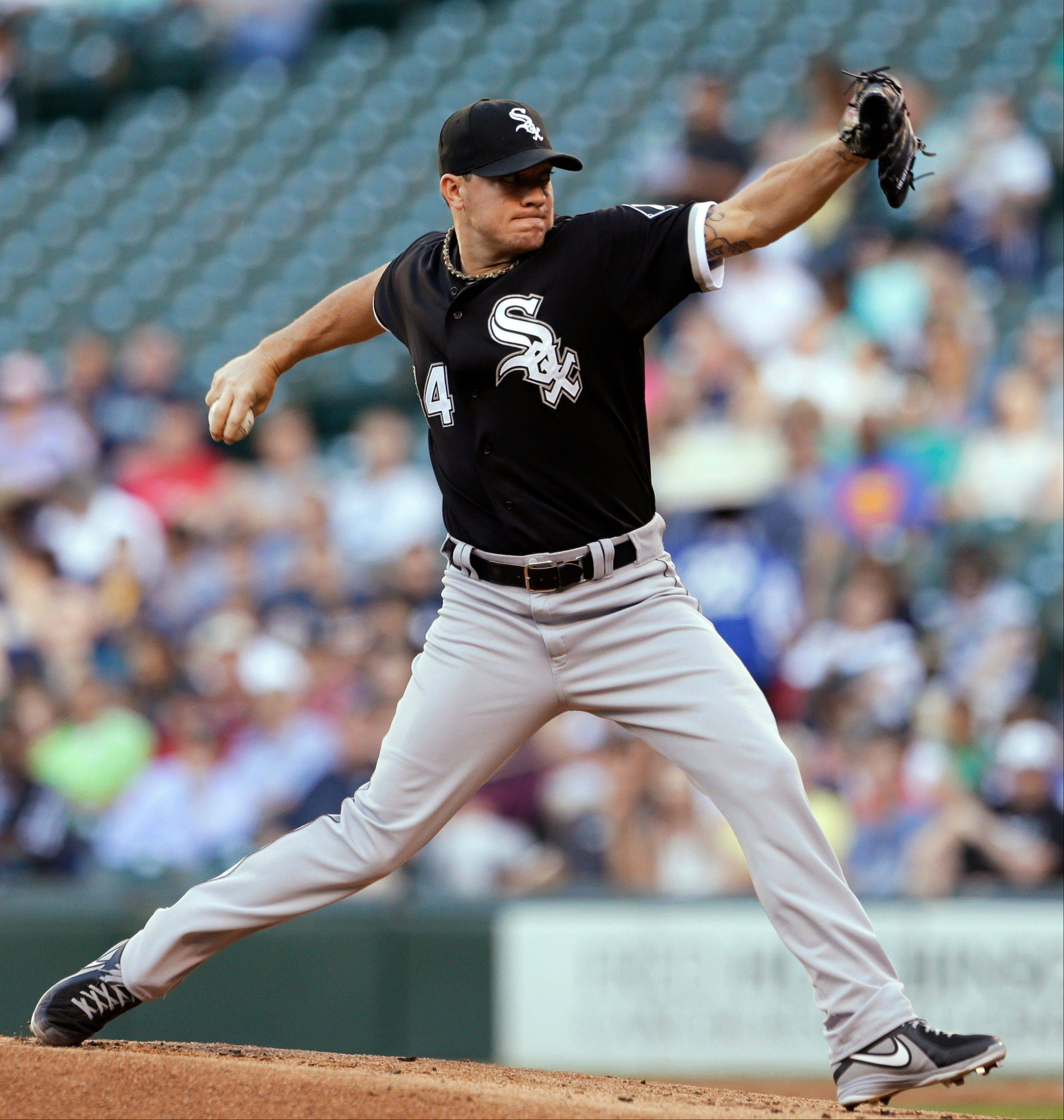 White Sox starter Jake Peavy left the game Tuesday at Seattle in the third inning because of discomfort in his left side. X-rays reportedly were negative, but he will have an MRI today.