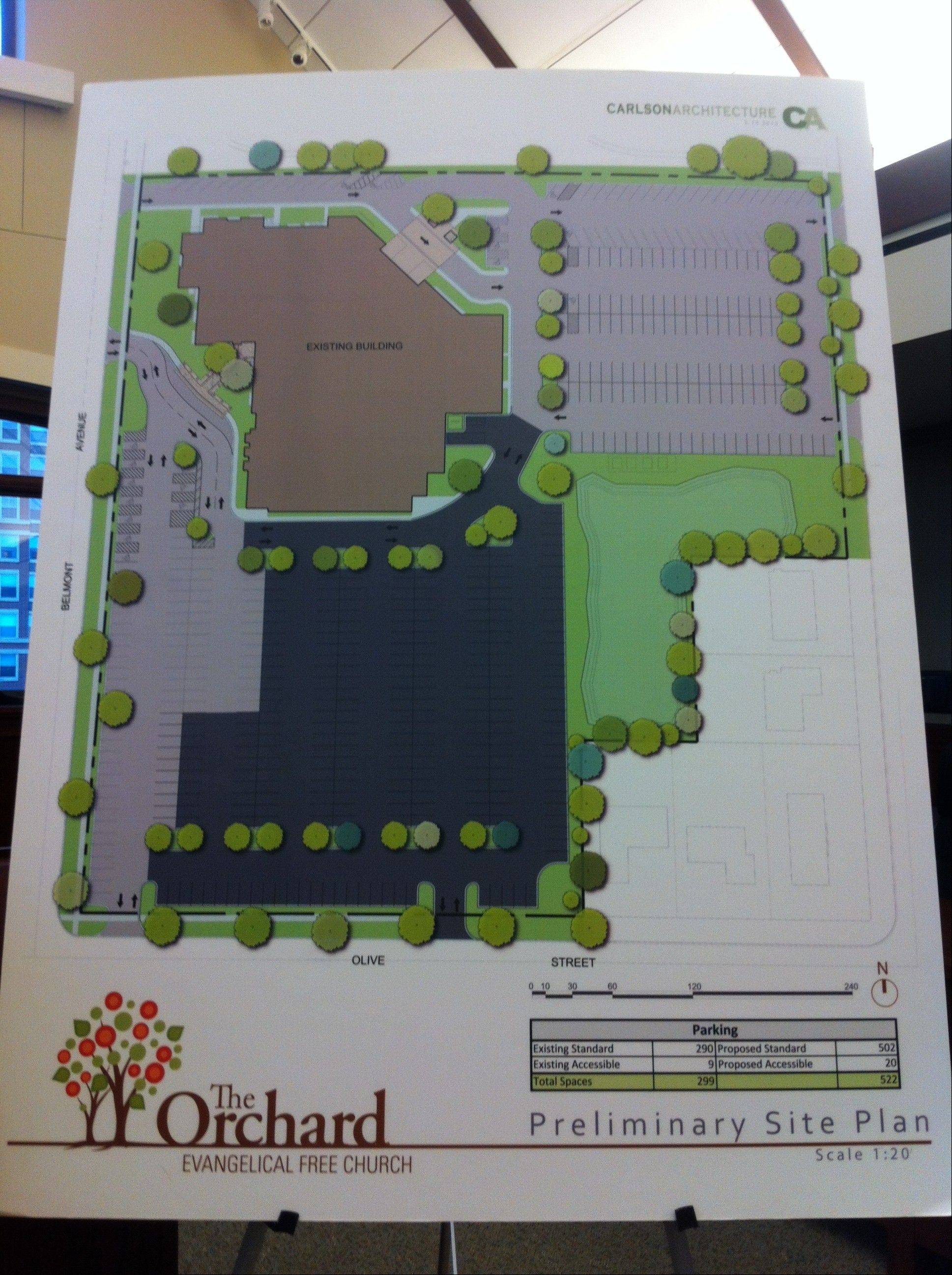 Proposed plan for Orchard Evangelical Free Church's expanded parking lot. The expansion is shaded in a darker color.