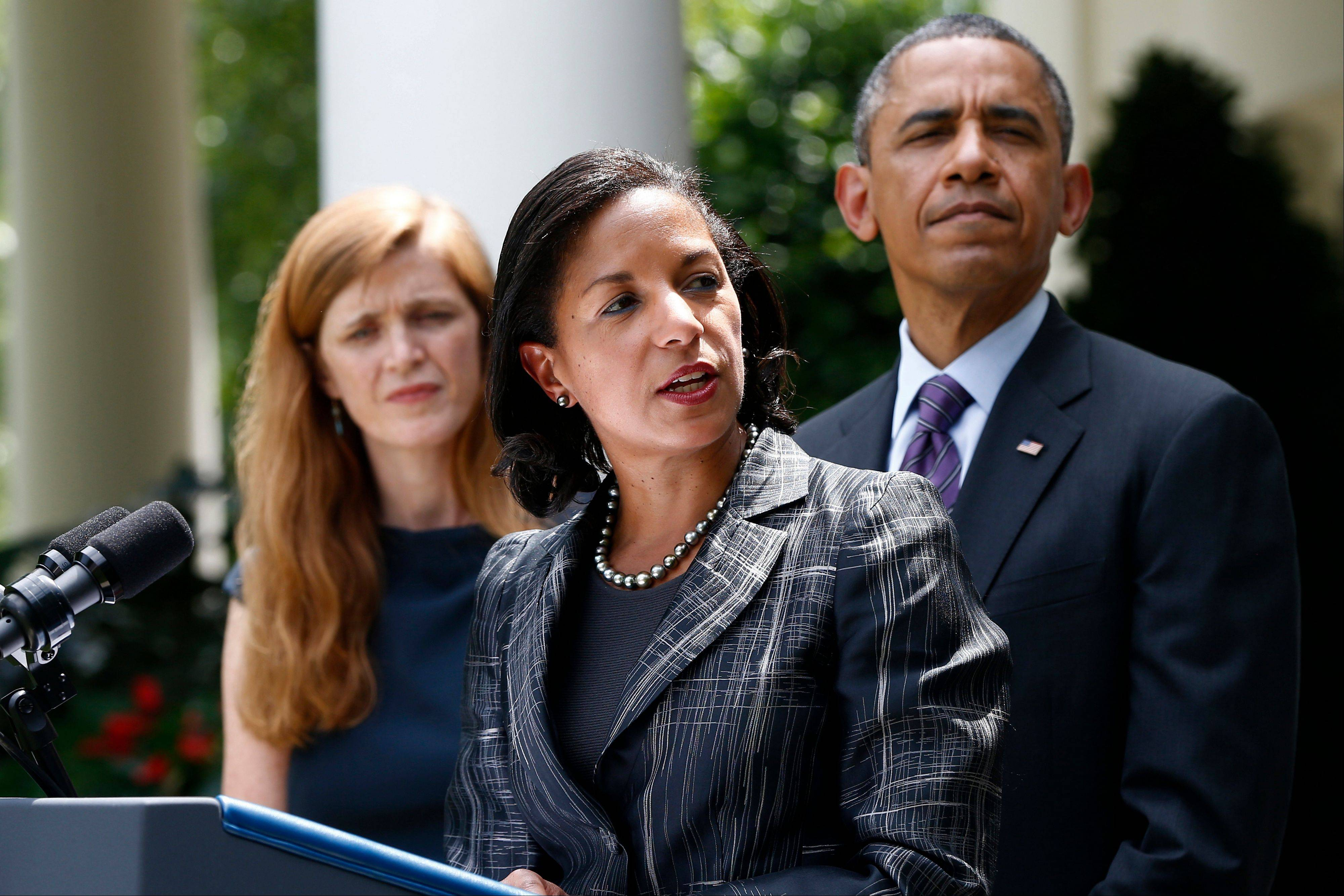 President Barack Obama listens as U.N. Ambassador Susan Rice, his choice to be his next National Security Adviser, speaks at the White House Wednesday, when the president made the announcement. Samantha Power, his nominee to be the next U.N. ambassador is at left.