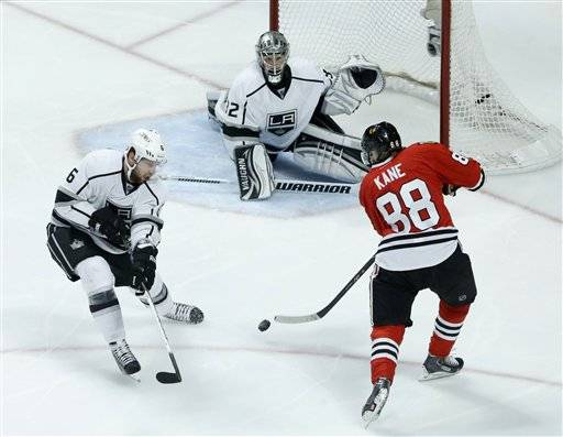 The Blackhawks' Patrick Kane is unable to score on Kings goalie Jonathan Quick in Game 1. Kane has on 2 goals in 15 playoff games this year.