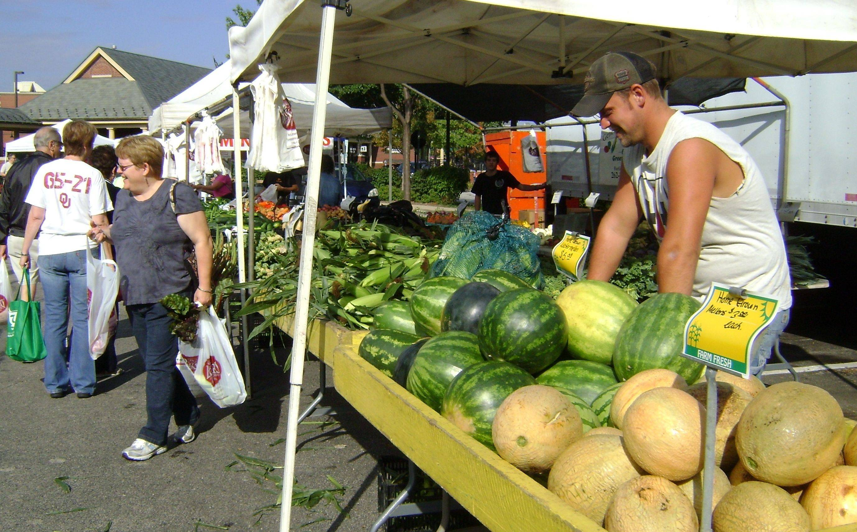Sweet corn, watermelon and cantaloupe are common staples of the suburban farmers market scene.