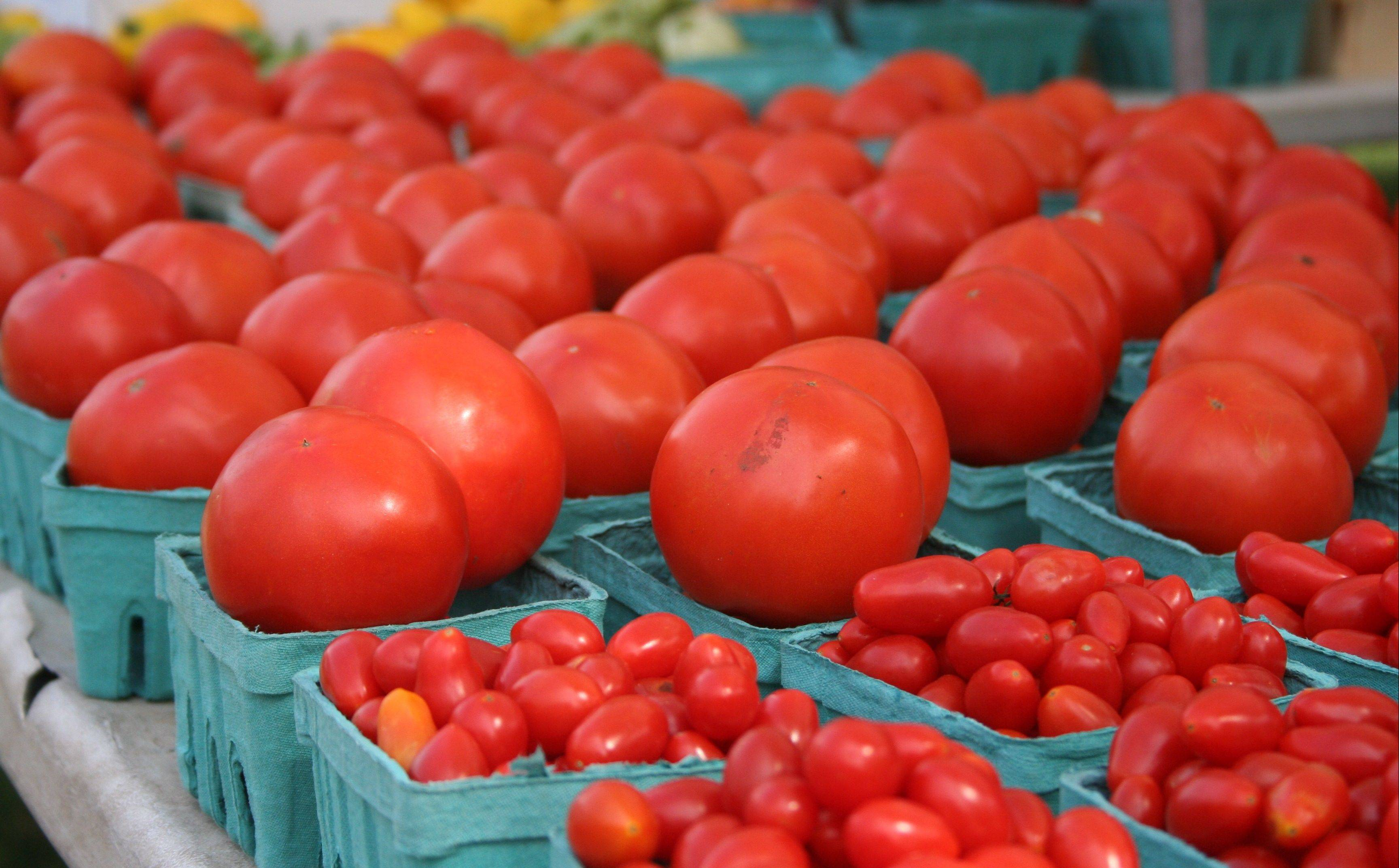 Homegrown tomatoes are always a favorite at farmers markets throughout the Chicago suburbs.