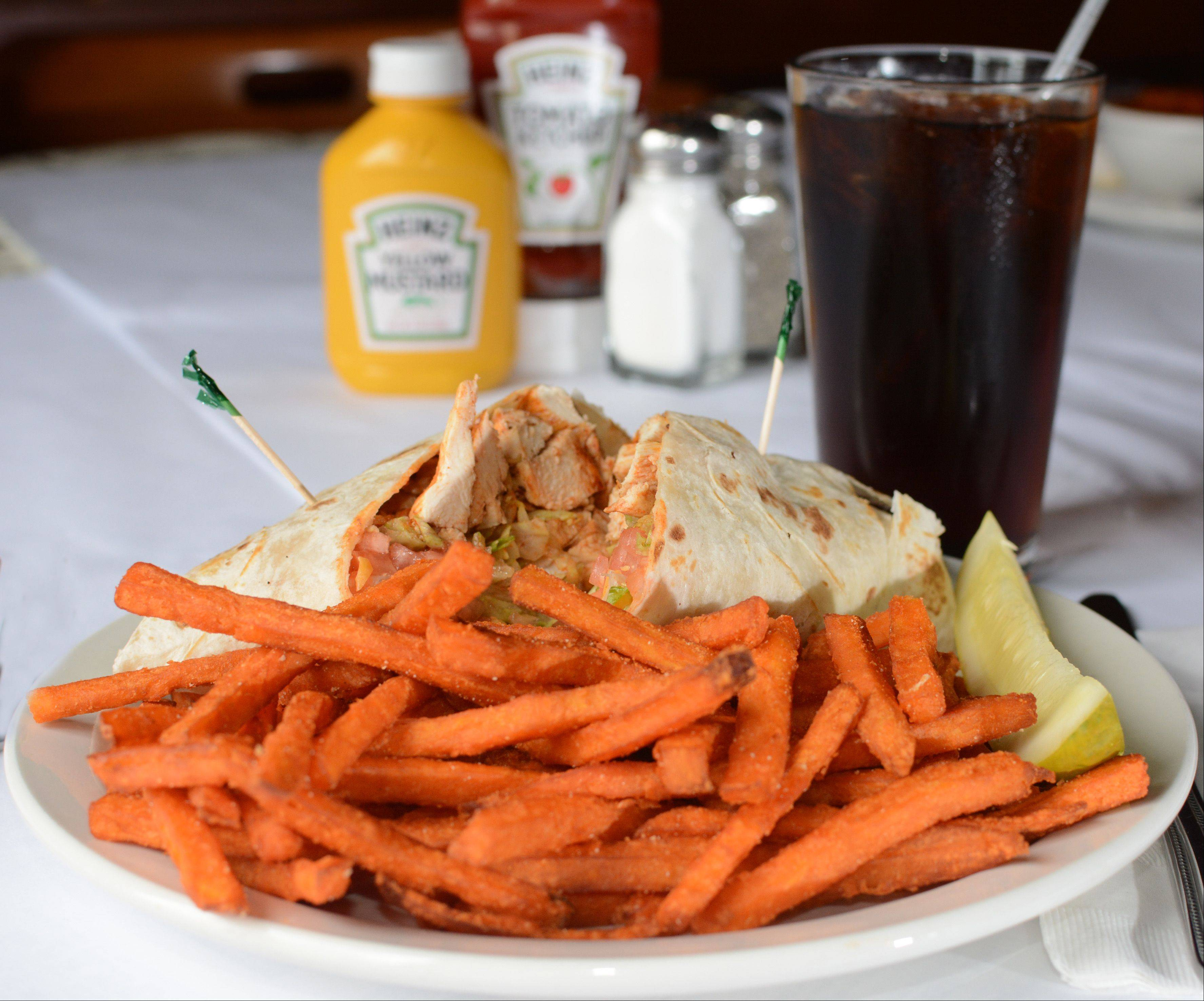 The buffalo chicken wrap is hot, but not too hot, at Brandt's in Palatine.
