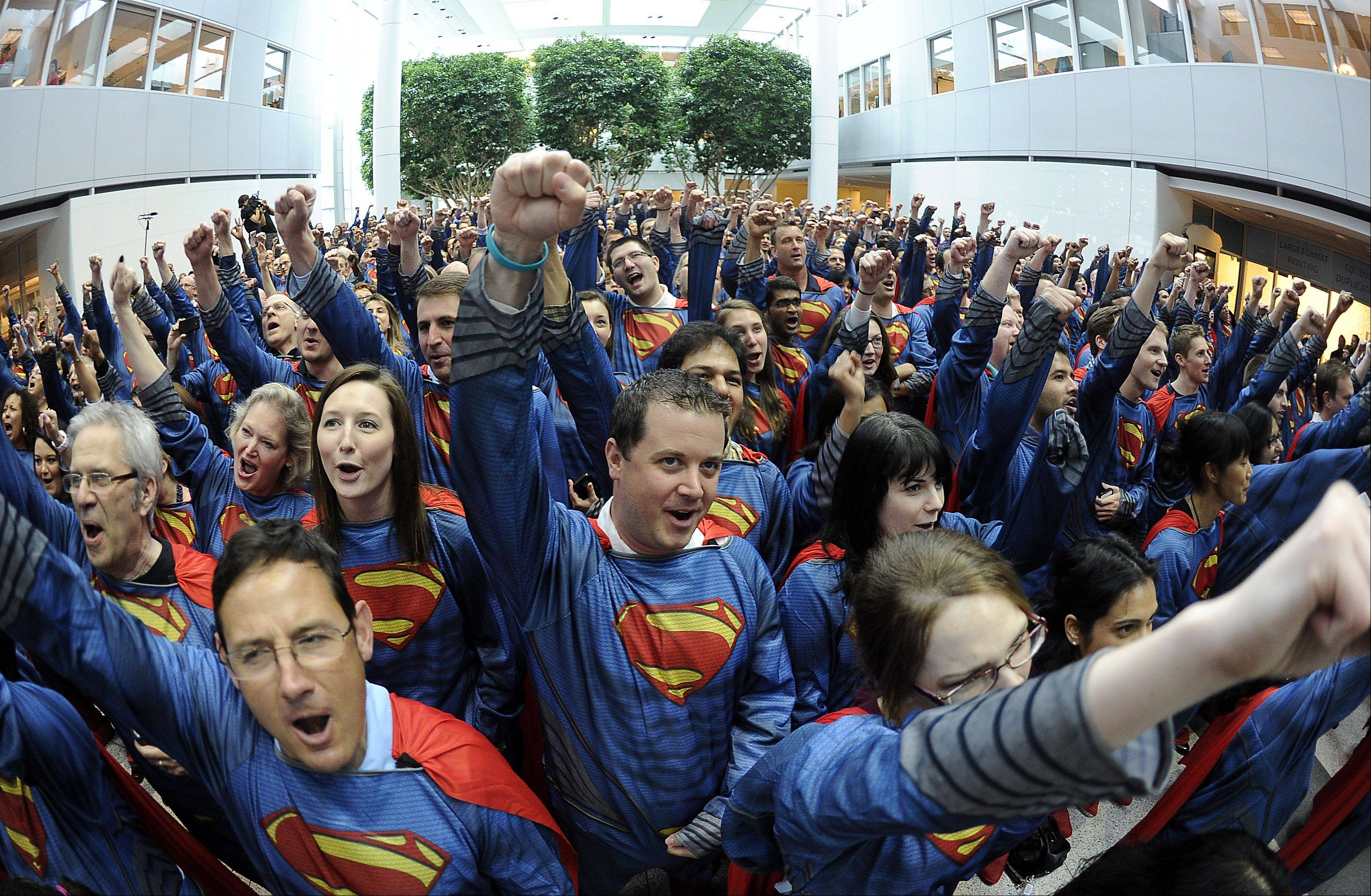 Mike Ullrich of Lake in the Hills was among the 566 employees participating in the Superman record.