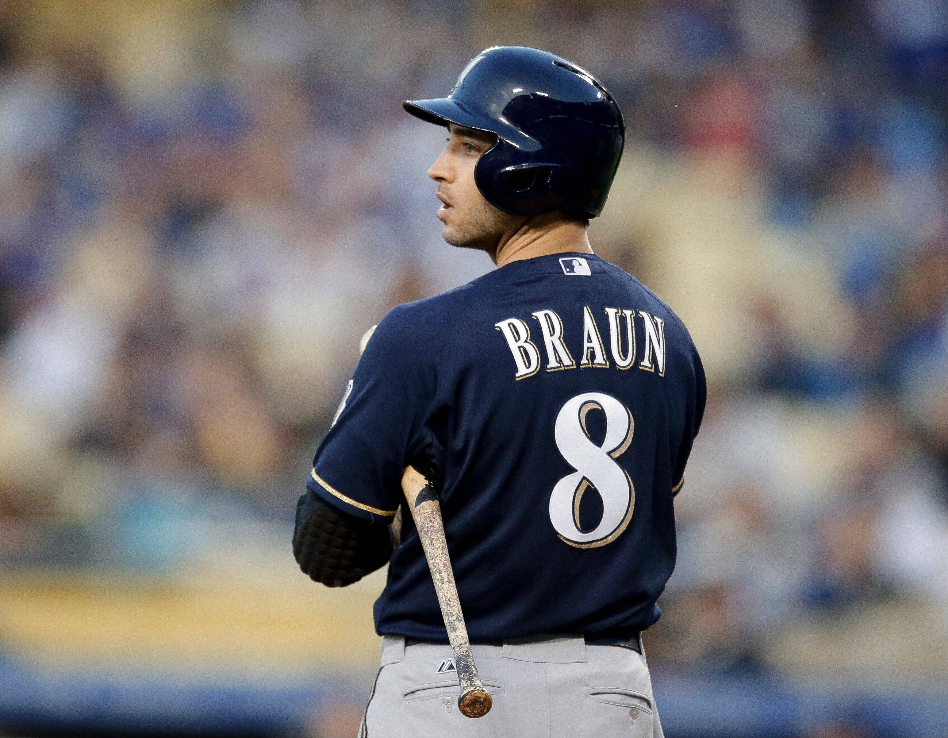 Milwaukee Brewers outfielder Ryan Braun gets ready to bat against the Los Angeles Dodgers in Los Angeles.