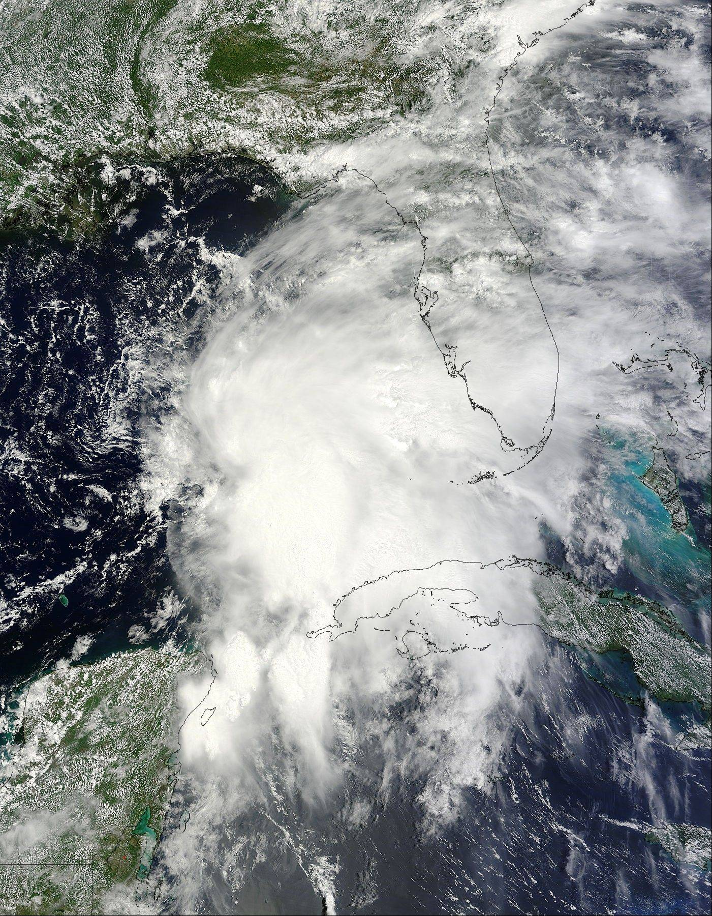 An image provided by NASA from the Terra satellite shows Tropical Storm Andrea as it moves across the Gulf of Mexico and approaches Florida's west coast Wednesday. Heavy rain poured across much of Florida on Thursday as the first tropical storm of the Atlantic hurricane season headed toward the state.