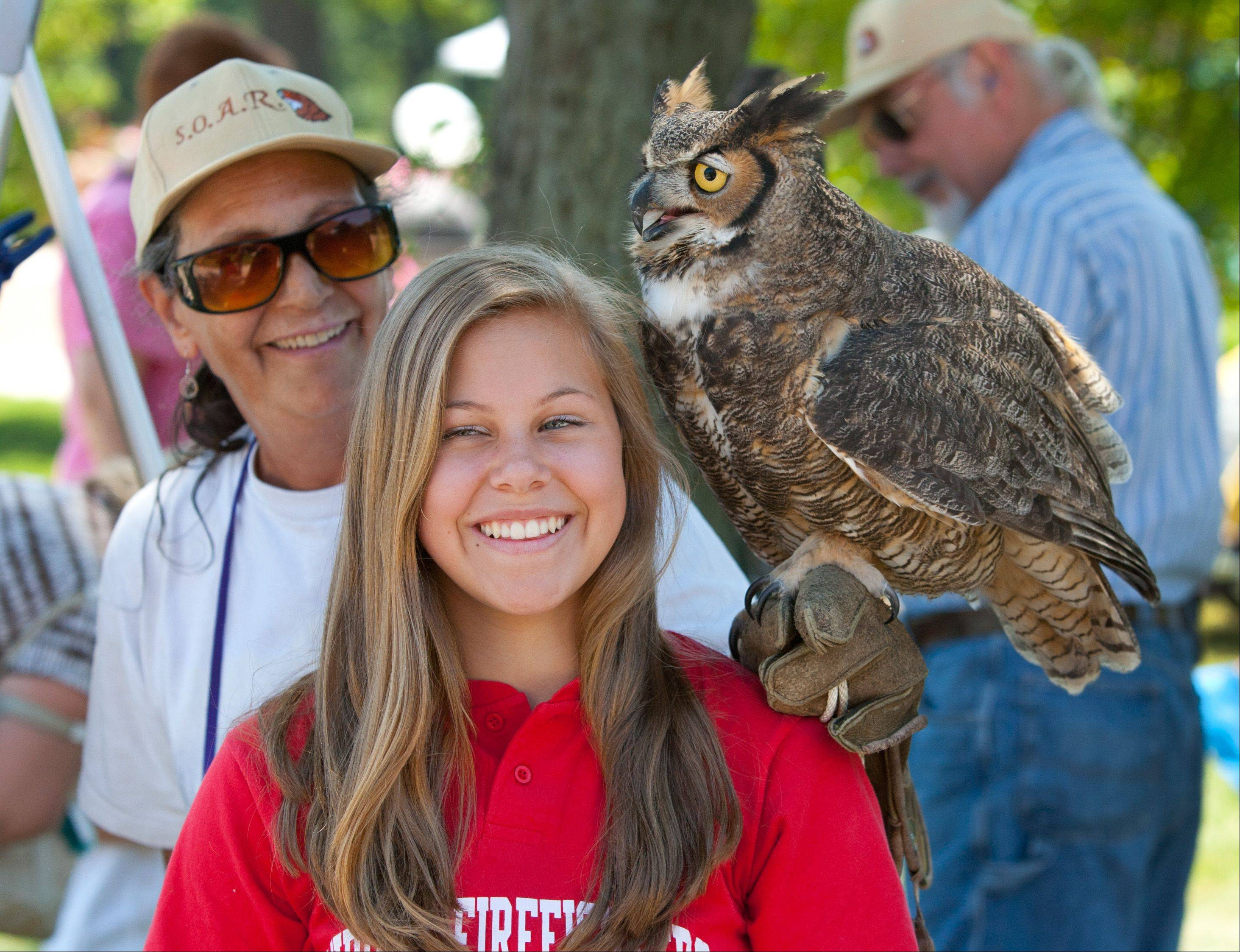 Presentations on animals such as bats, snakes, chickens and goats will be offered during the fourth annual Aurora Green Fest from 10 a.m. to 3 p.m. Saturday, June 8, at Prisco Community Center, 150 W. Illinois Ave. Last year's animal exhibits included this great horned owl, seen perching on Lindsey Muth's shoulder.