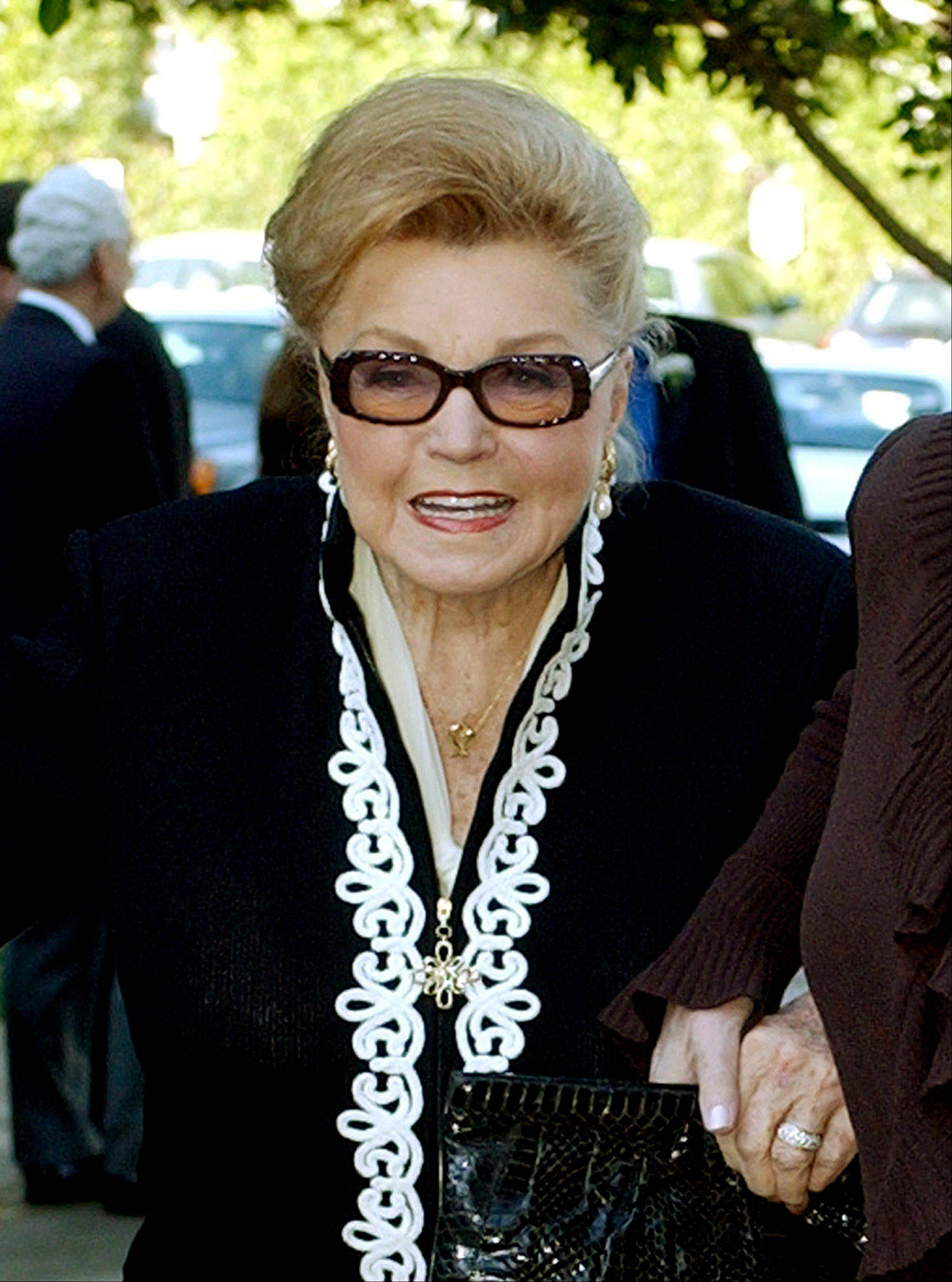 This Jan. 28, 2004 file photo shows Esther Williams at the funeral service for dancer/actress Ann Miller at St. Mel Catholic Church in Los Angeles' Woodland Hills area.