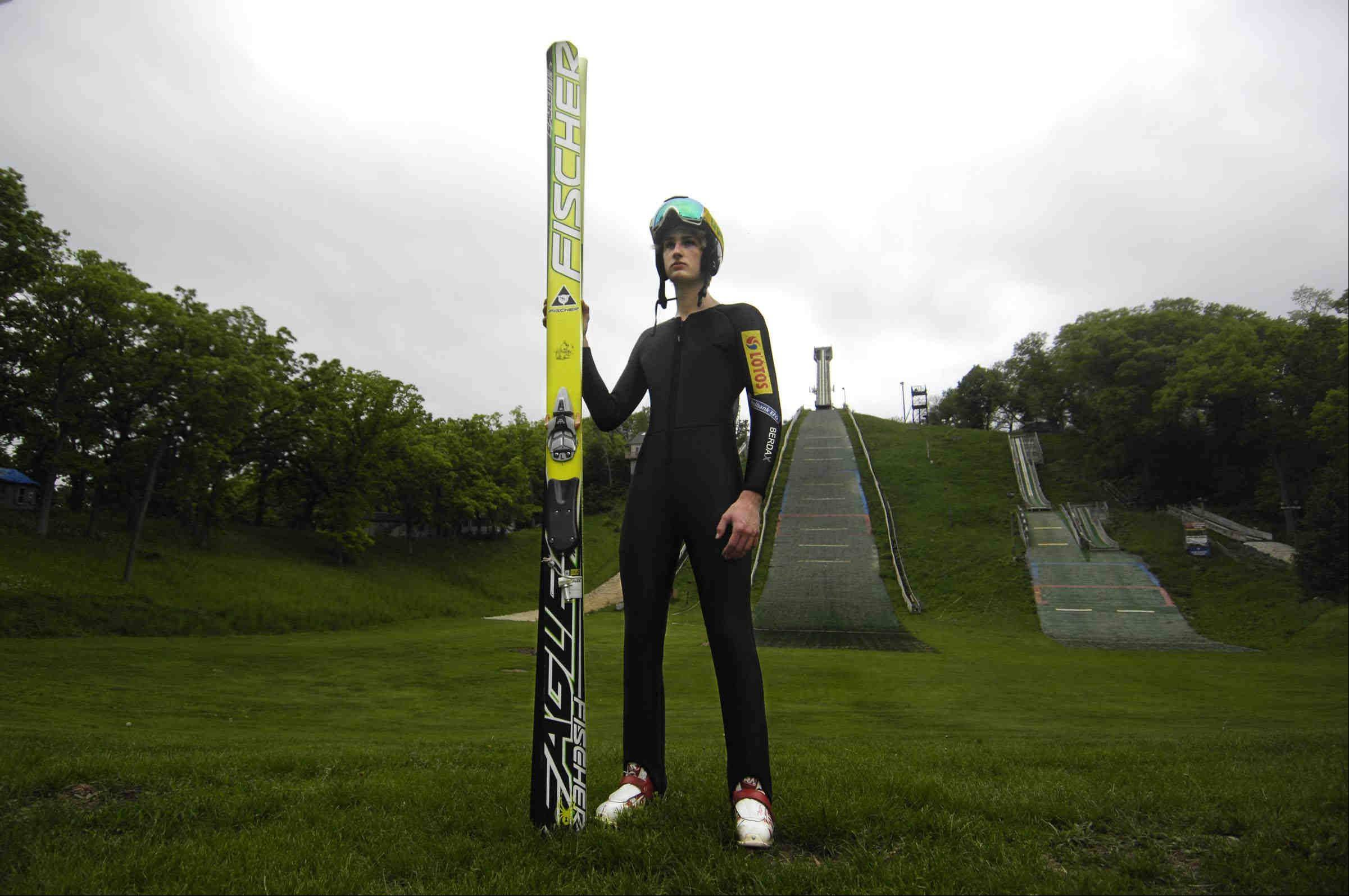 Kevin Bickner, 16, of Wauconda has a tall, thin build that's perfect for the sport of ski jumping.