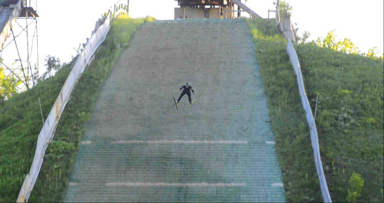 Kevin Bickner, 16, of Wauconda practices his ski jumping off the big ramp at the Norge Ski Club in Fox River Grove.
