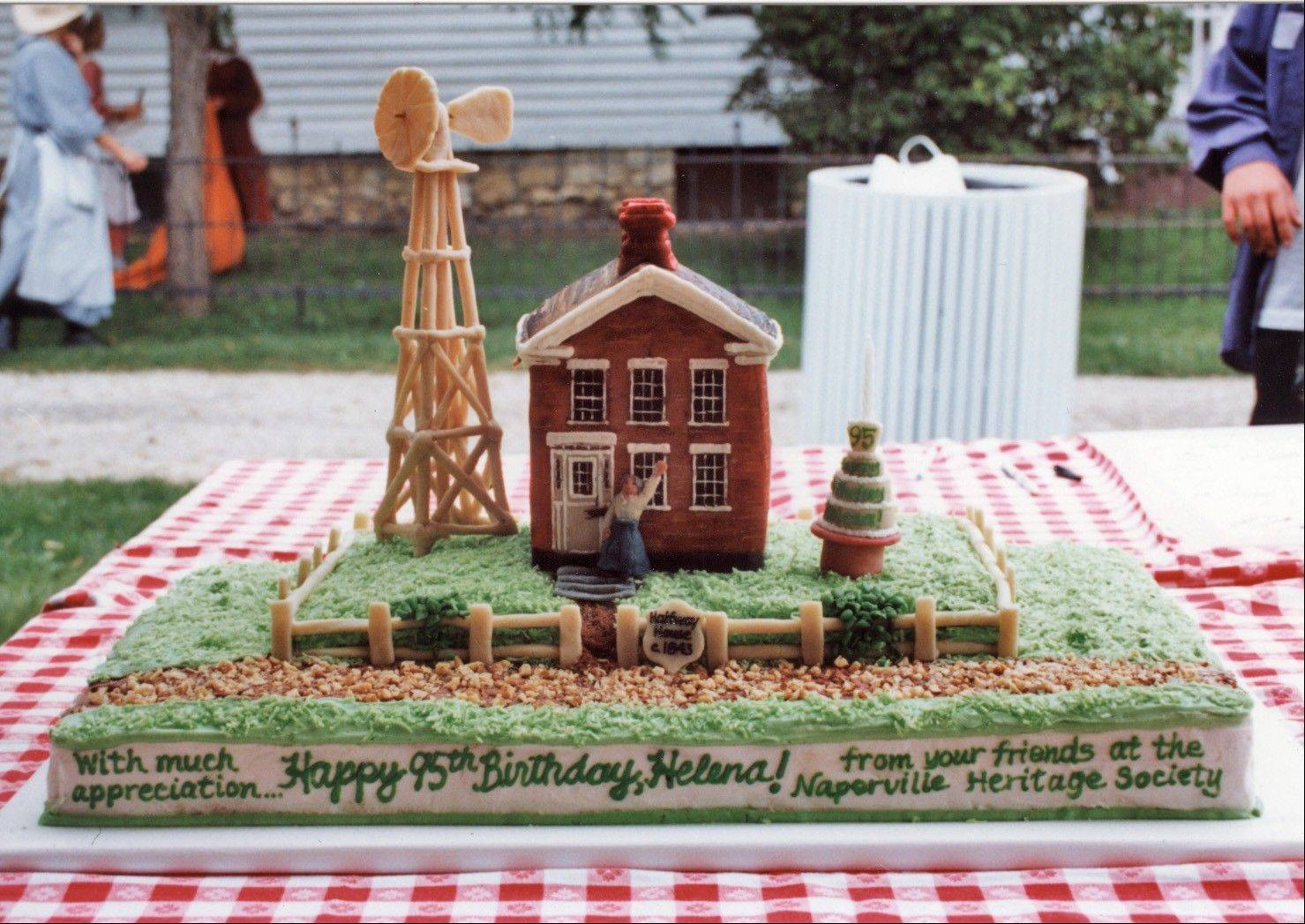 Stephanie Penick made this cake in 1993 to celebrate the 95th birthday of Naper Settlement volunteer Helena Wackerlin.
