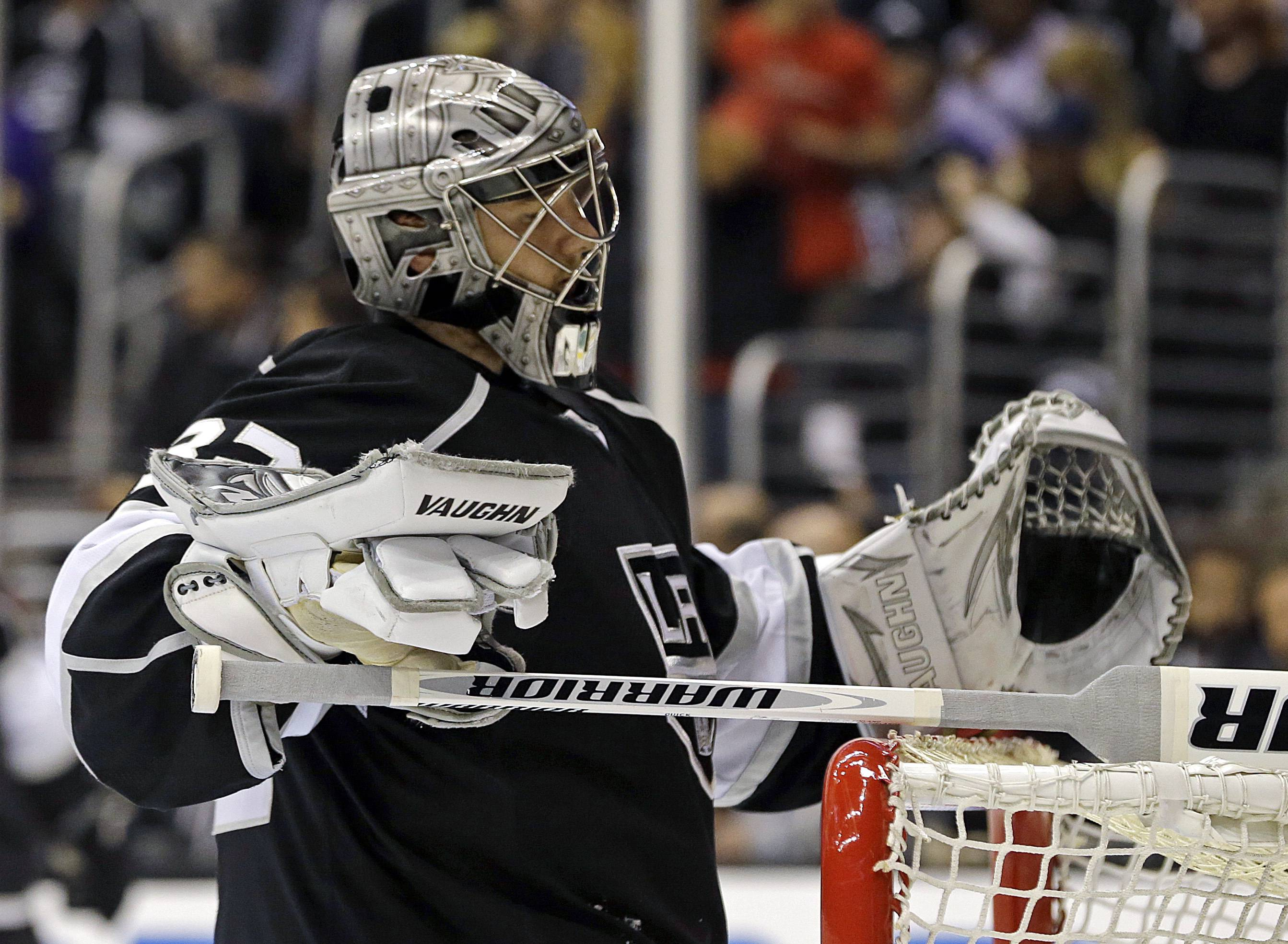Los Angeles Kings goalie Jonathan Quick waits after a goal by the Chicago Blackhawks in the third period of Game 4 of the NHL hockey Stanley Cup playoffs Western Conference finals, in Los Angeles Thursday, June 6, 2013. The Blackhawks won 3-2.