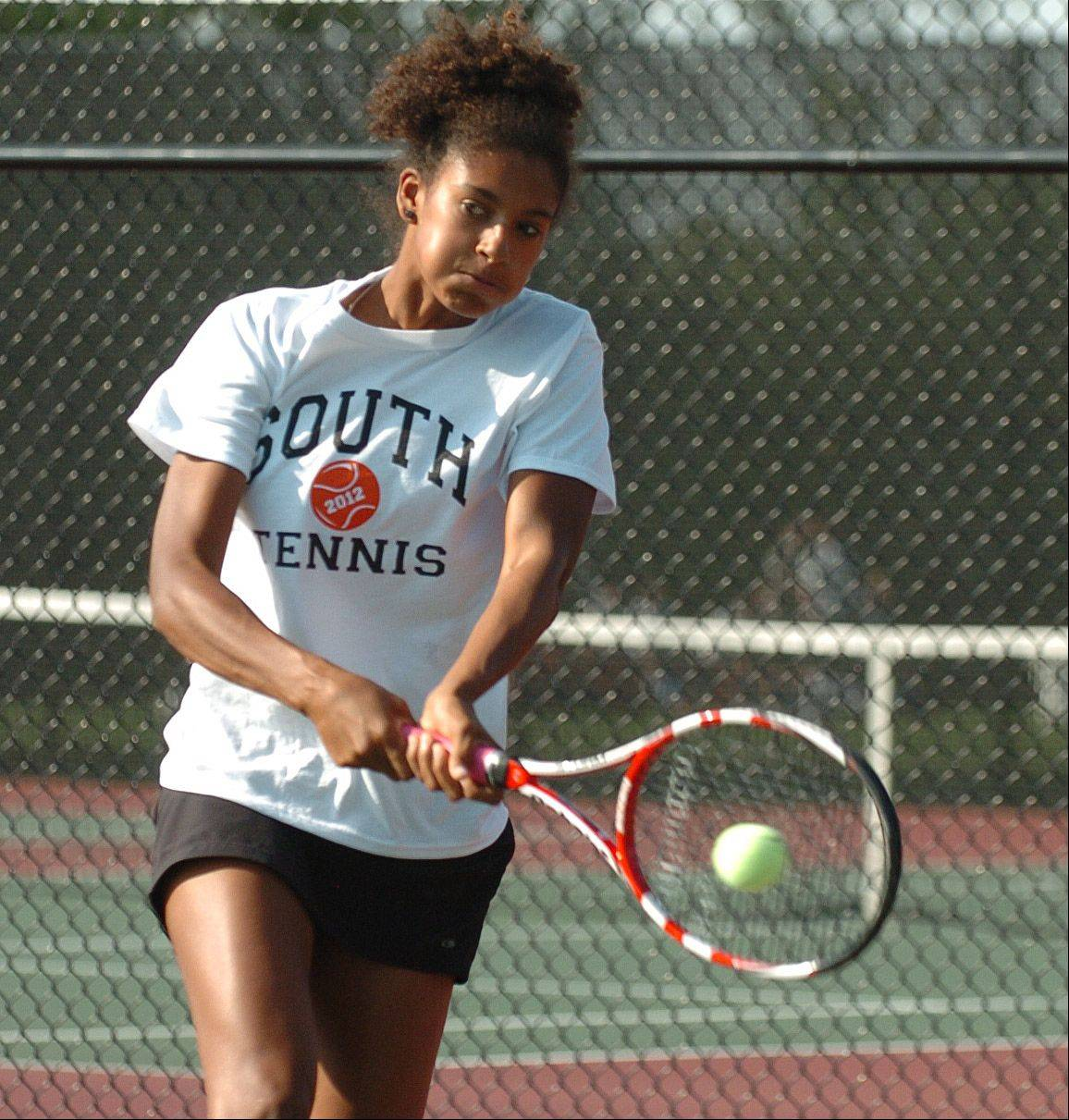 Keisha Clousing of Wheaton Warrenville South during the No. 1 singles match Thursday.