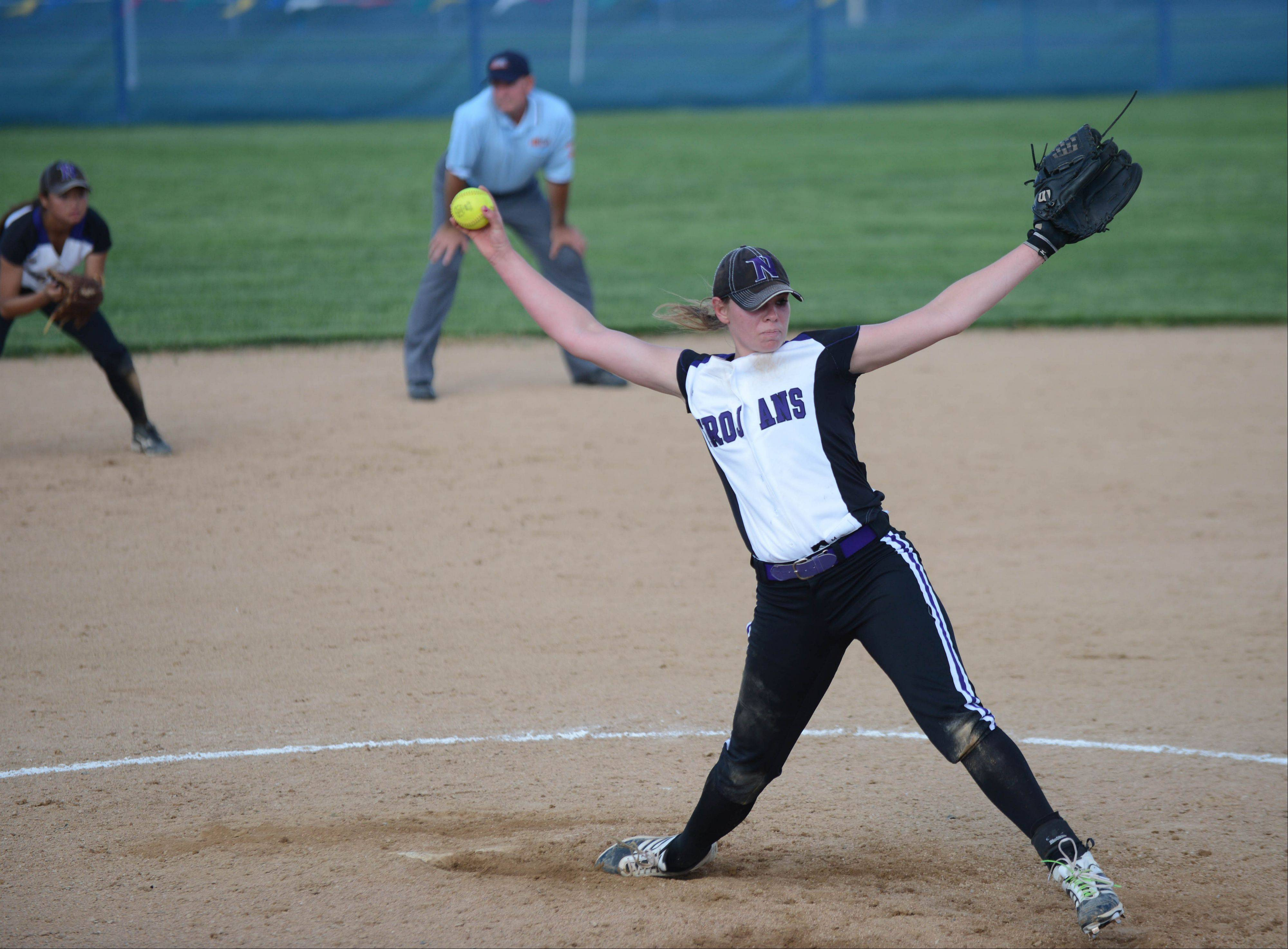 Downers Grove North pitcher Elaine Heflin is the honorary captain of the DuPage County all-area softball team.