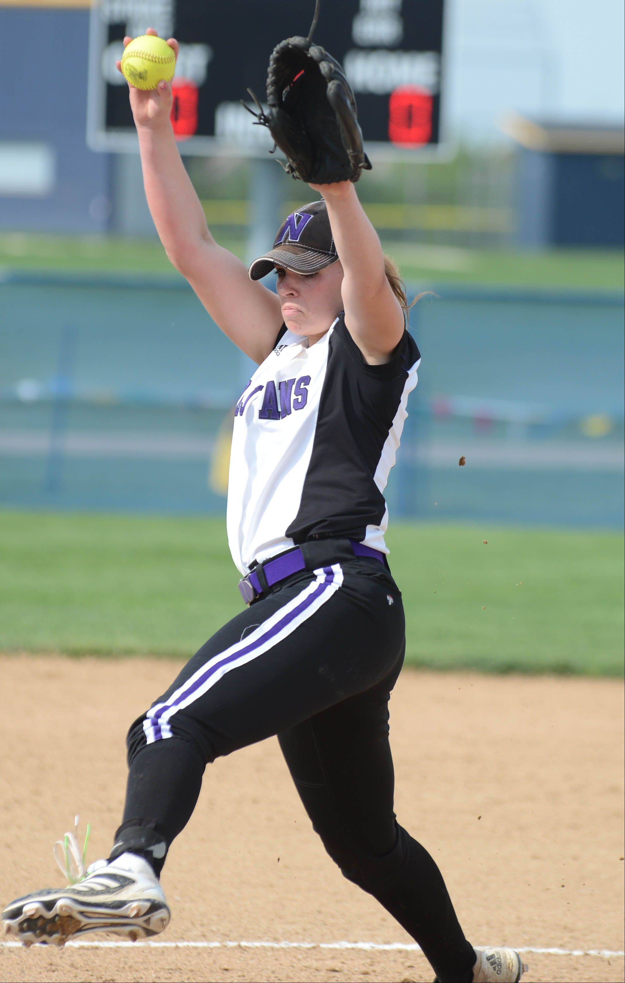 Elaine Heflin of Downers Grove North on the mound during the Class 4A Neuqua Valley sectional semifinals softball game Wednesday.