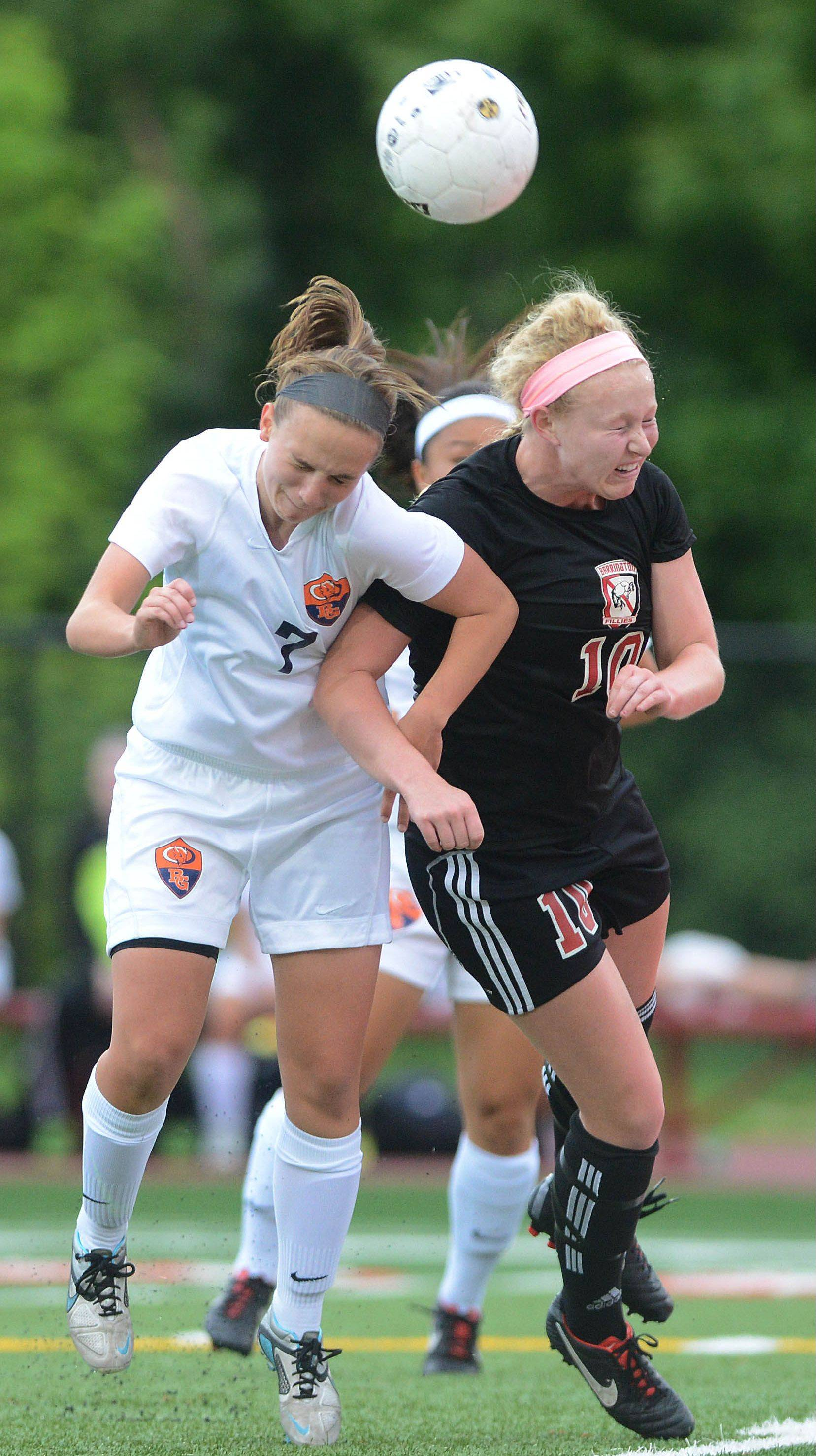 Barrington's Molly Pfeiffer, at right battling all-area selection Jessica Kovach of Buffalo Grove in last weekend's Class 3A third-place game, captains the Daily Herald's Northwest girls soccer all-area team this spring.