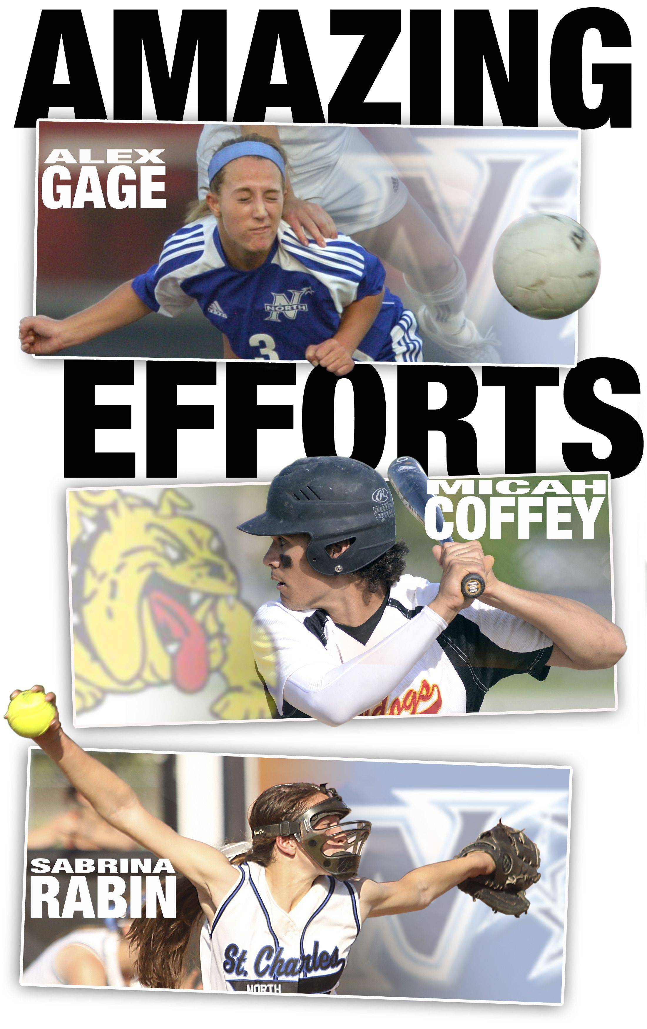 Tri-Cities All-Area Team Captains for Spring 2013 are Alex Gage, Micah Coffey, and Sabrina Rabin.