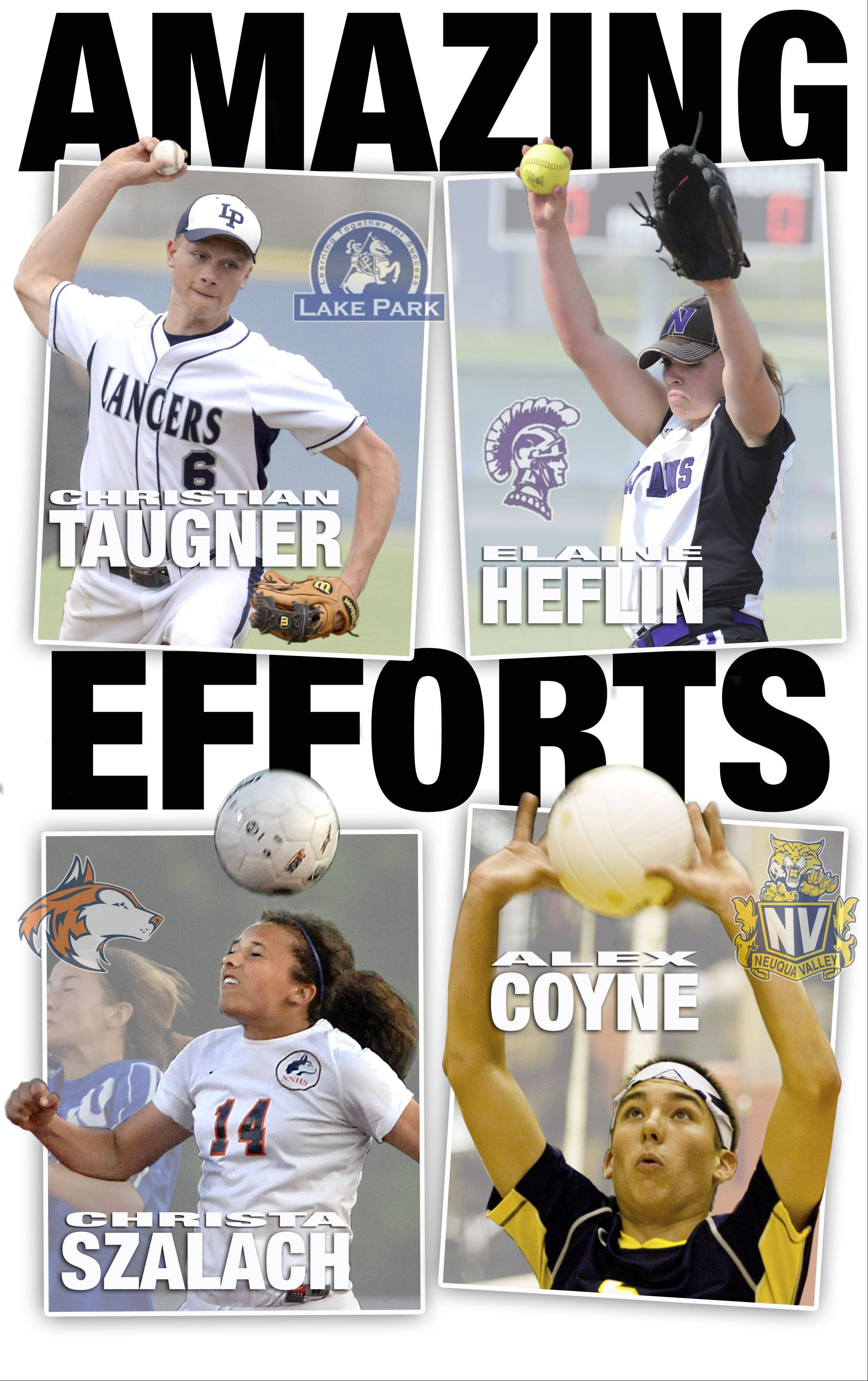 DuPage County All-Area Team Captains for Spring 2013 are Christian Taugner, Elaine Heflin, Christa Szalach, and Alex Coyne.