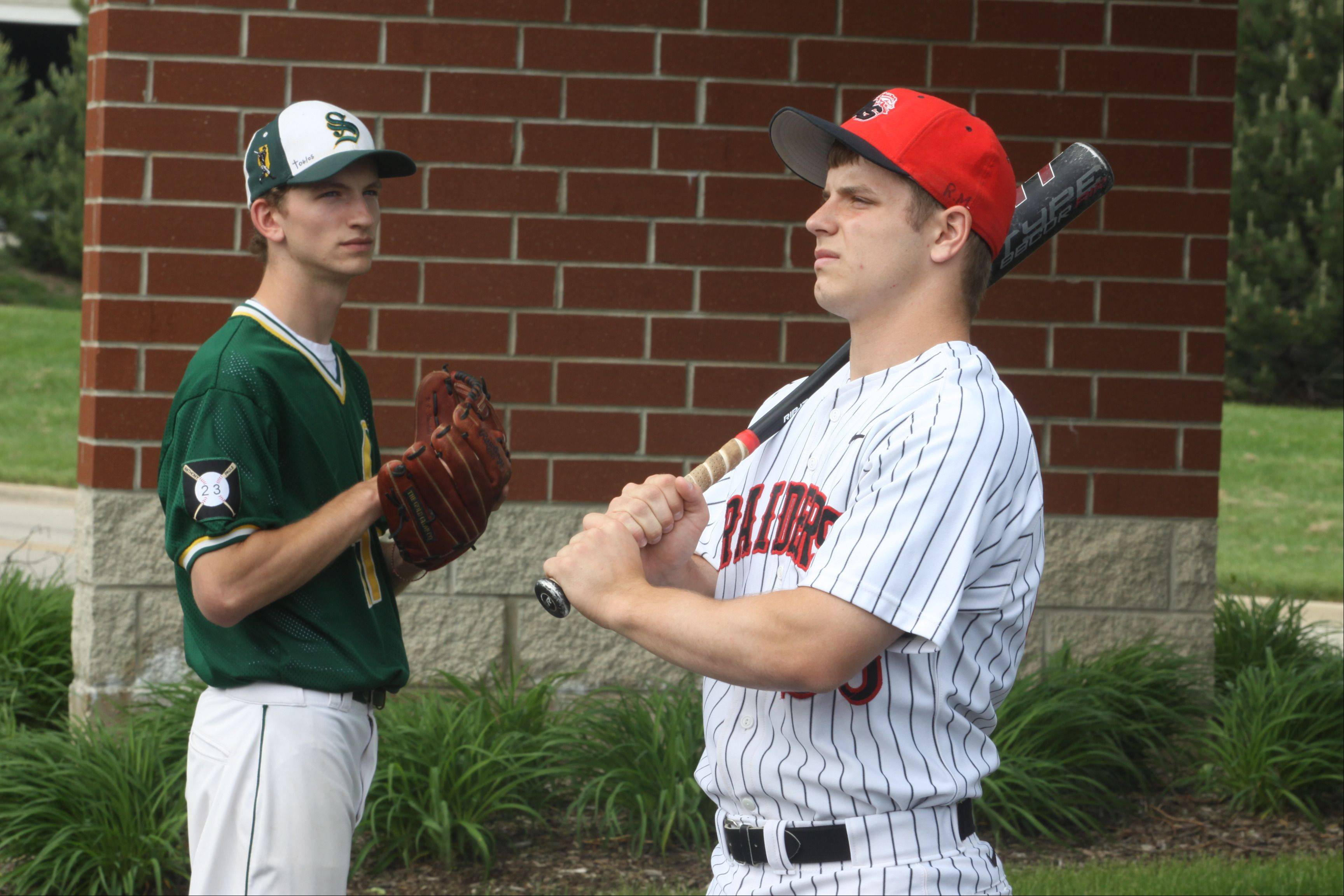 Huntley's Mark Skonieczny, right, and Crystal Lake South's Tyler Hall, left.