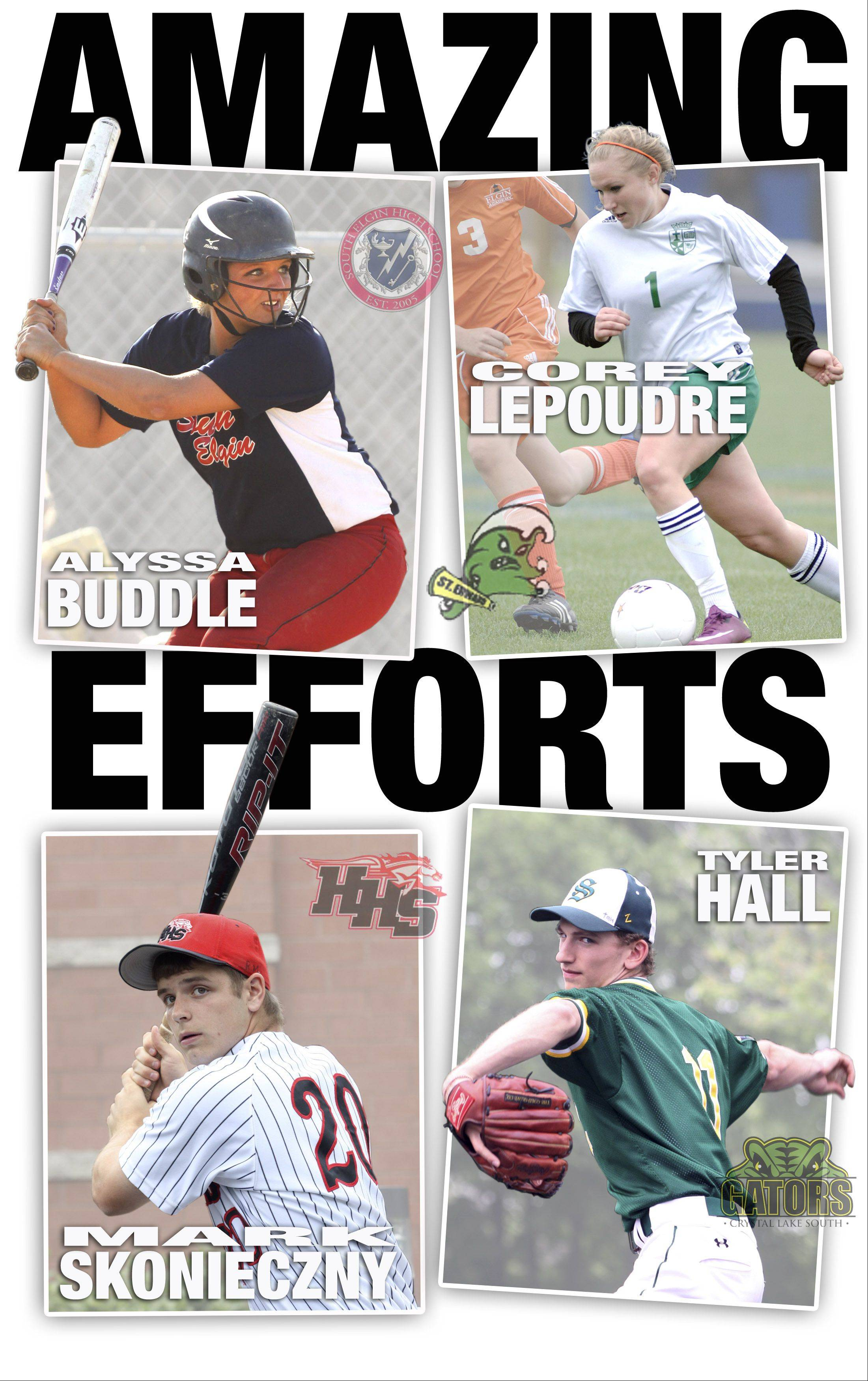 Fox Valley All-Area Team Captains for Spring 2013 are Alyssa Buddle, Corey LePoudre, Mark Skonieczny, and Tyler Hall
