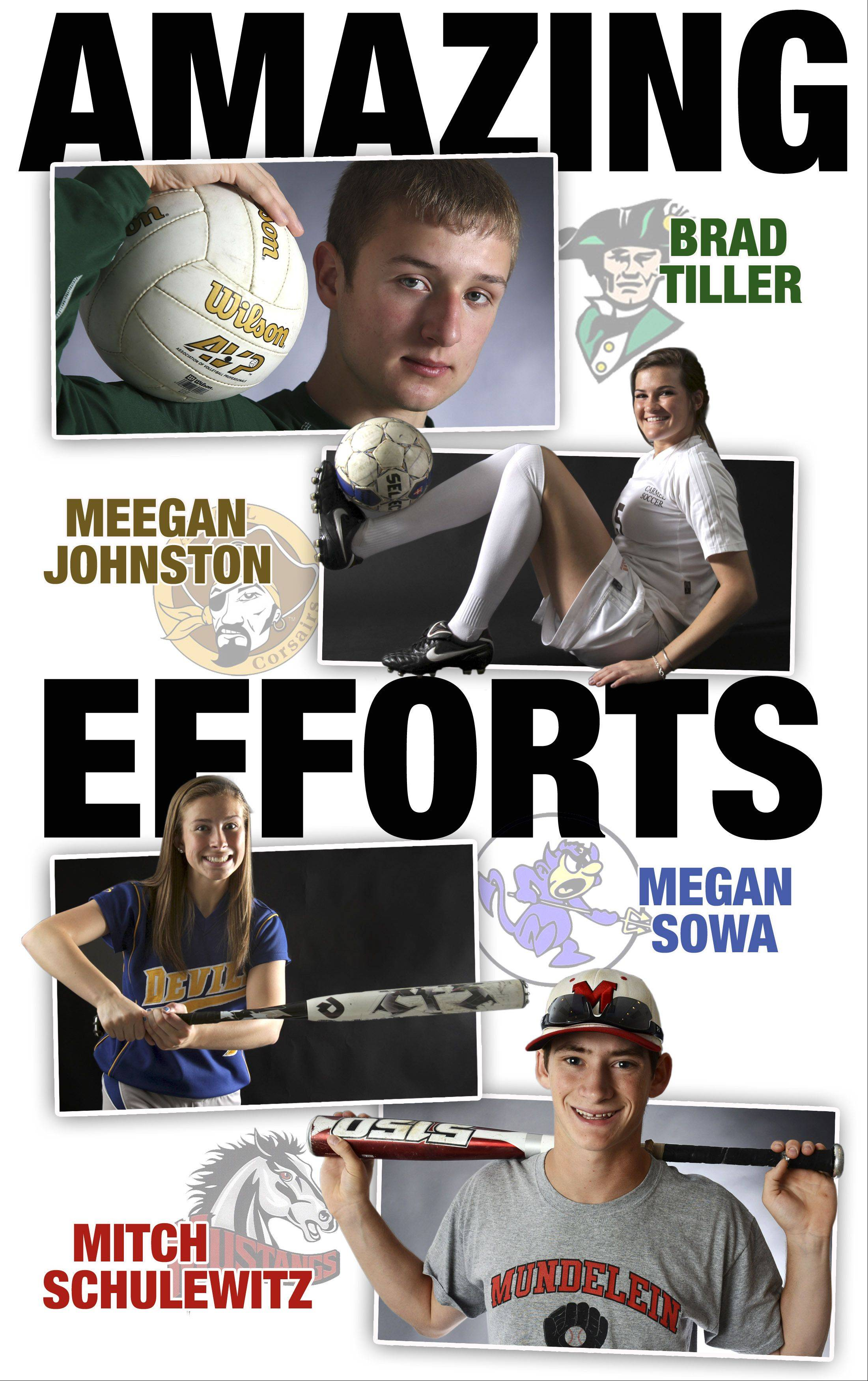 Lake County All-Area Team Captains for Spring 2013 are Brad Tiller, Meegan Johnston, Megan Sowa, and Mitch Schulewitz.