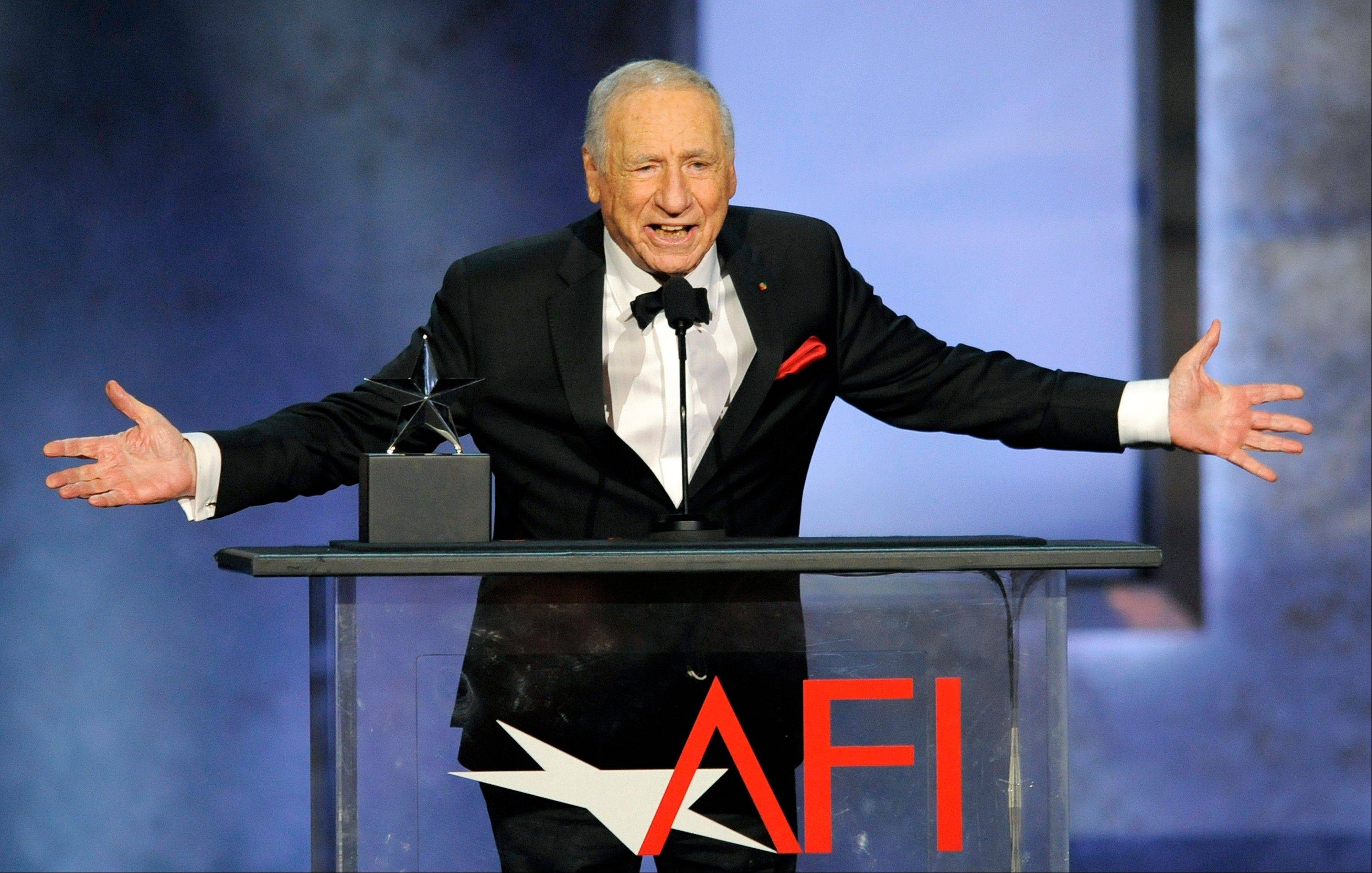 Honoree Mel Brooks addresses the audience during the American Film Institute�s 41st Lifetime Achievement Award Gala at the Dolby Theatre on Thursday in Los Angeles.