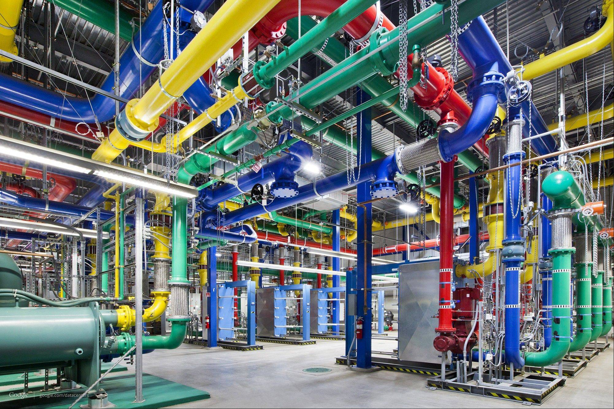 Colorful pipes network to send and receive water for cooling Google's data center in The Dalles, Ore.