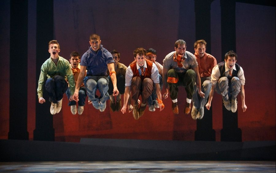 "Members of the Jets gang let off some steam in the number ""Cool"" in the national tour of ""West Side Story."""