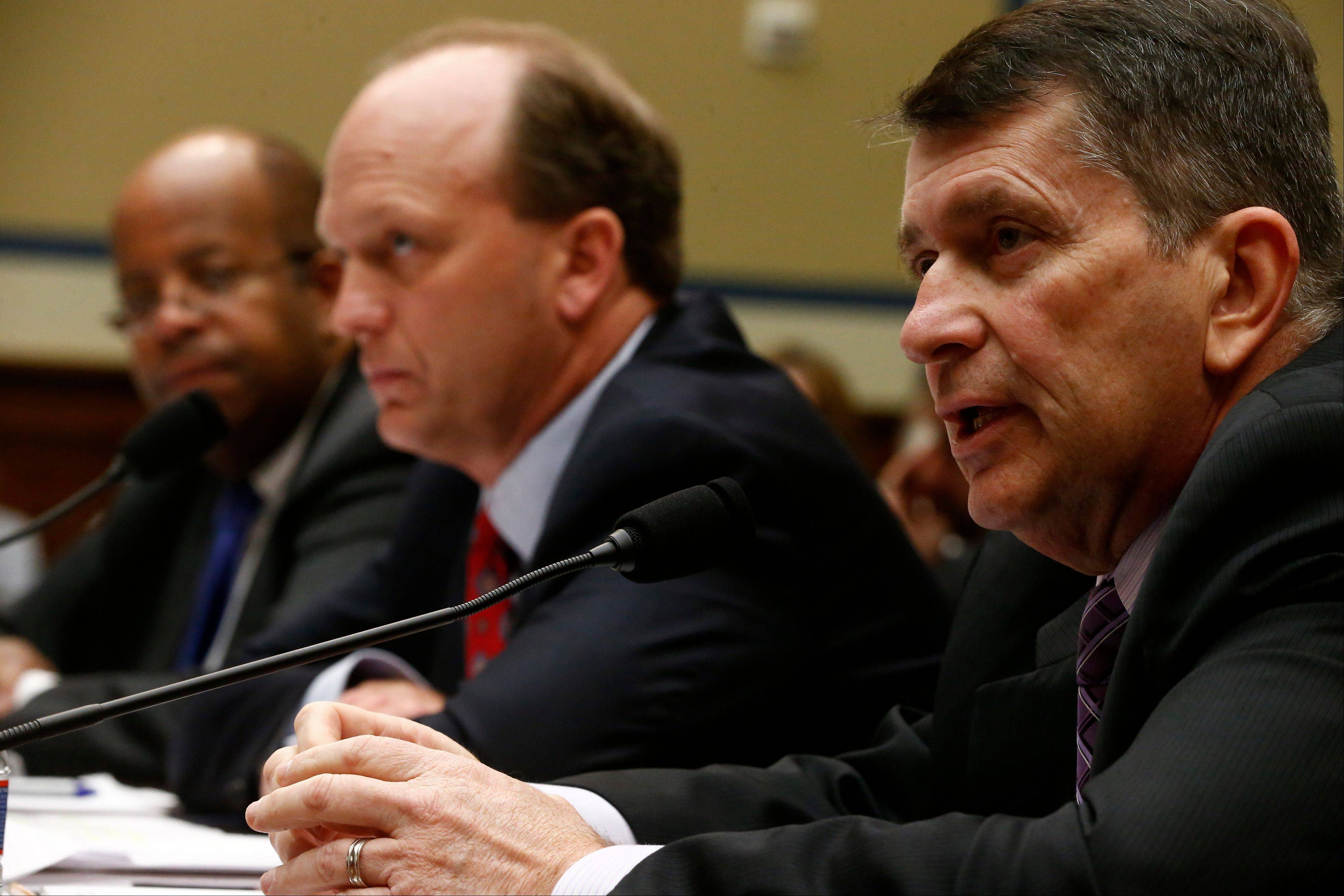 From left, J. Russell George, Inspector General, Treasury Inspector General for Tax Administration; Gregory Kutz, Assistant Inspector General for Audit, Treasury Inspector General for Tax Administration; Faris Fink, Commissioner, Small Business and Self-Employed Division, Internal Revenue Service testify Thursday on Capitol Hill.