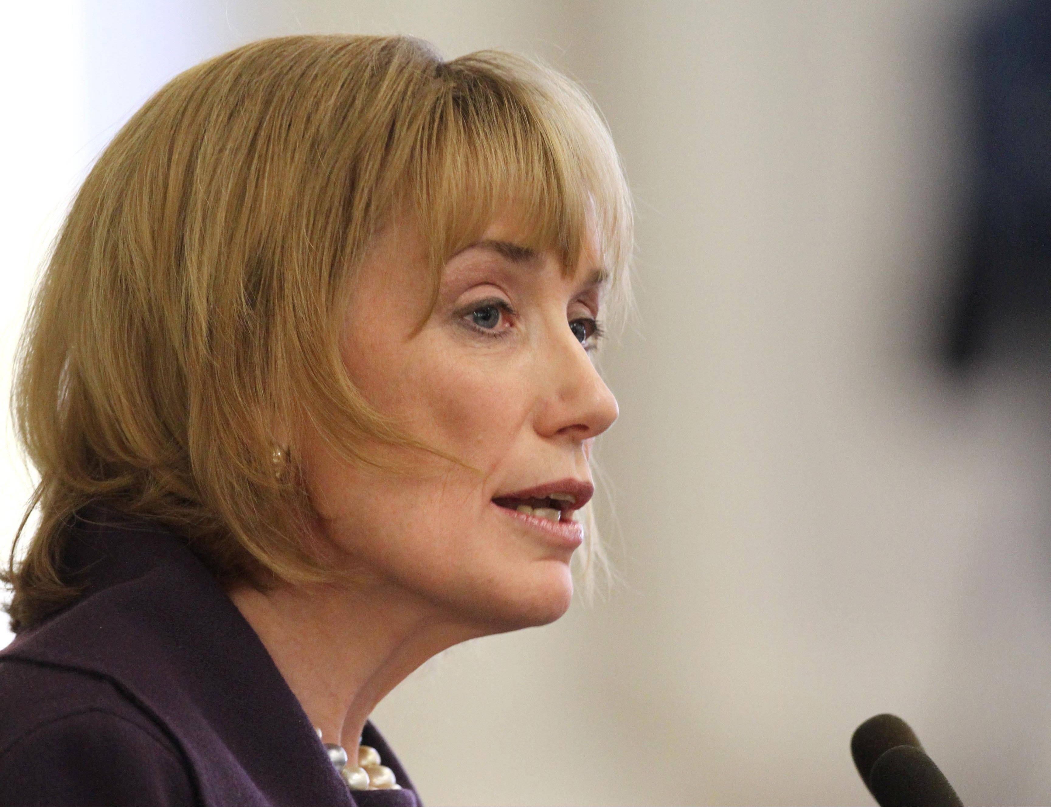 Democratic New Hampshire Gov. Maggie Hassan delivers her Budget Address to the Legislature at the Statehouse in Concord, N.H. Hassan is signing a bill Friday that emancipates 14 slaves who petitioned for their freedom in 1779.