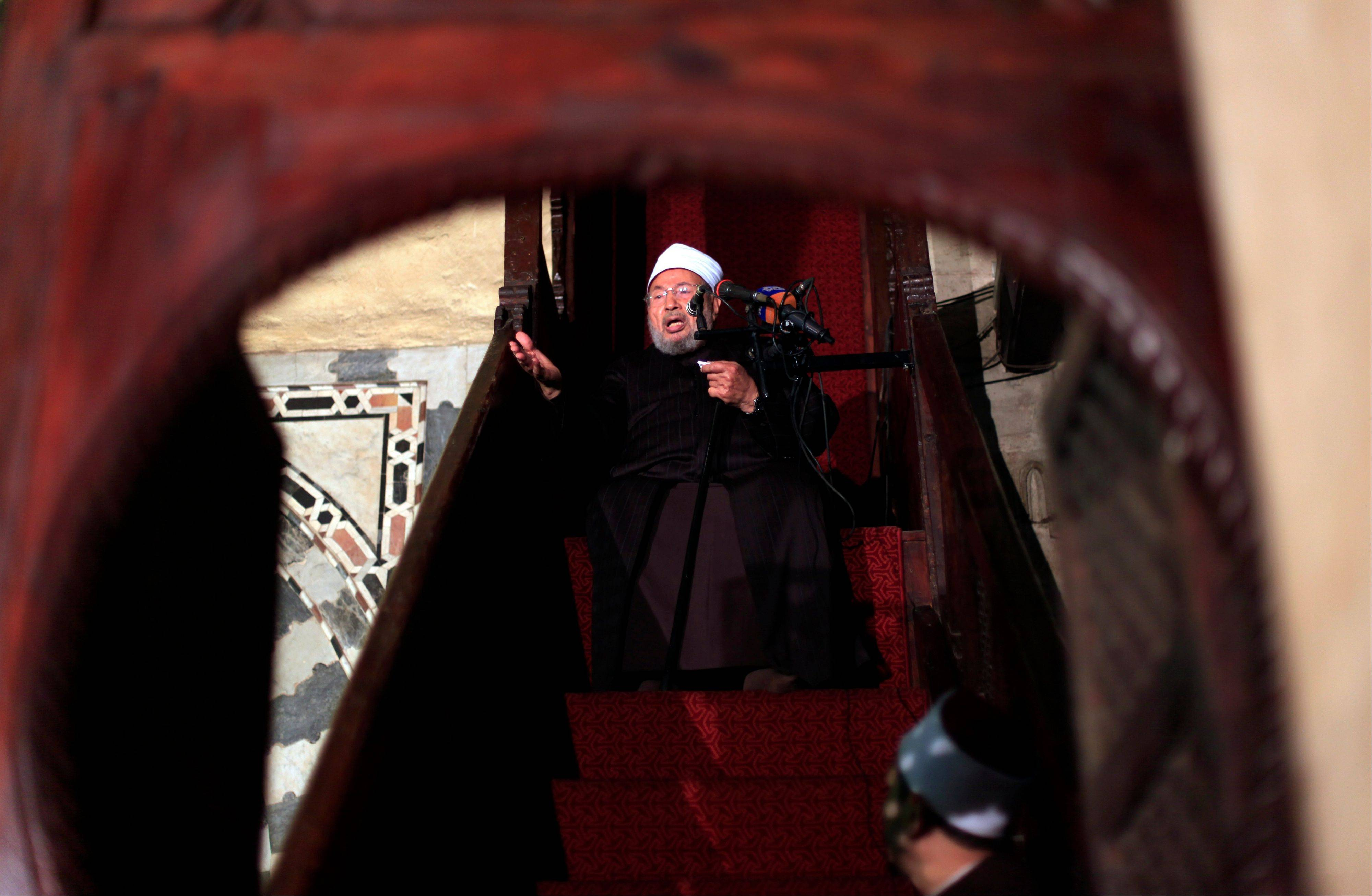 Associated Press/Dec. 28, 2012Shiekh Youssef al-Qaradawi gives the sermon during the Friday prayer at Al-Azhar mosque in Cairo, Egypt. Syria's civil war has morphed into a proxy fight in which Shiite Iran has strongly backed Assad, while Sunni Arab nations have backed rebels.