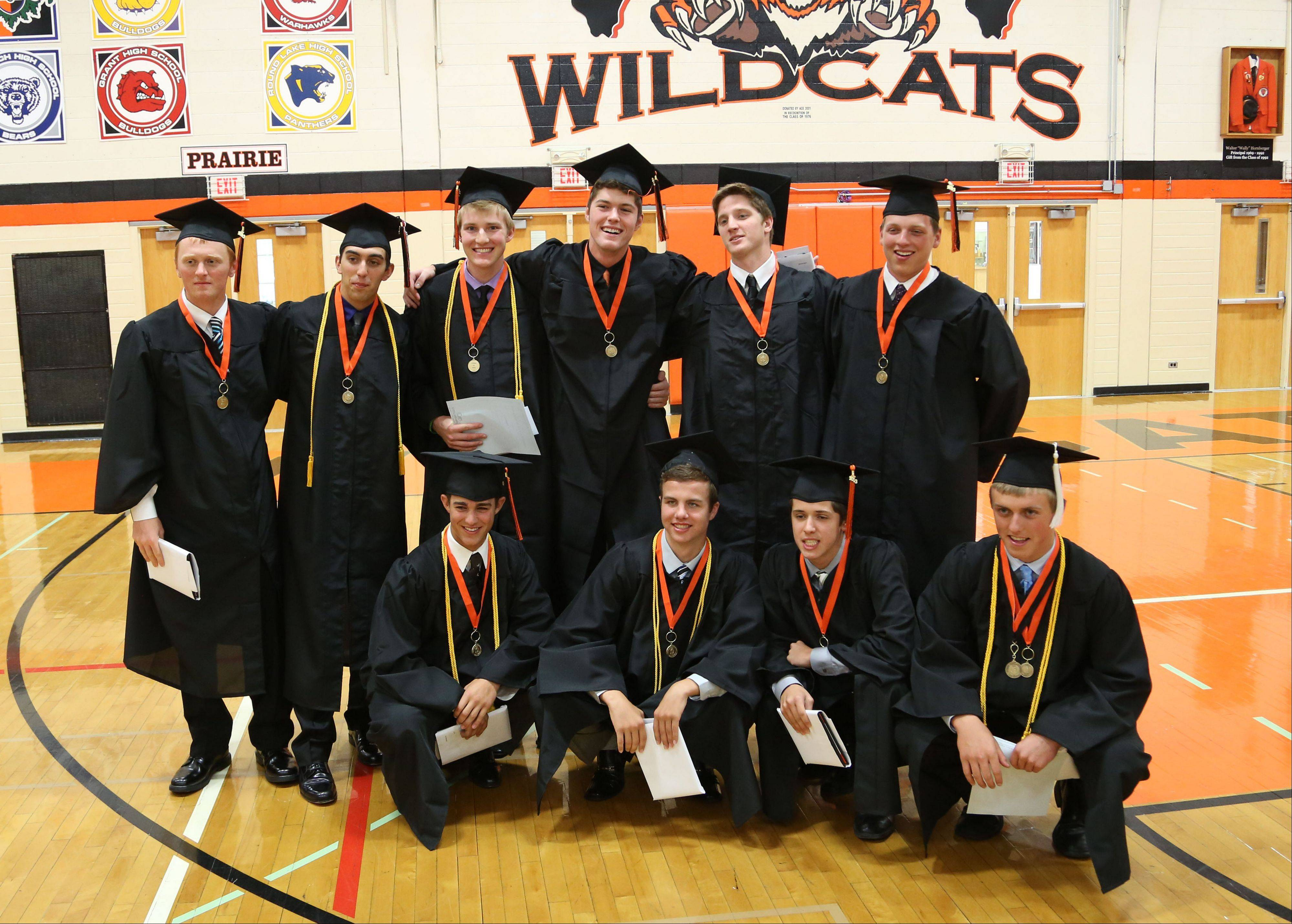 Libertyville High School seniors on the baseball team participate in a special graduation ceremony in the gymnasium Thursday. The school's graduation ceremony at Sears Centre Arena in Hoffman Estates tonight conflicts with the team's state semifinal game against St. Charles East High School at Silver Cross Field in Joliet.