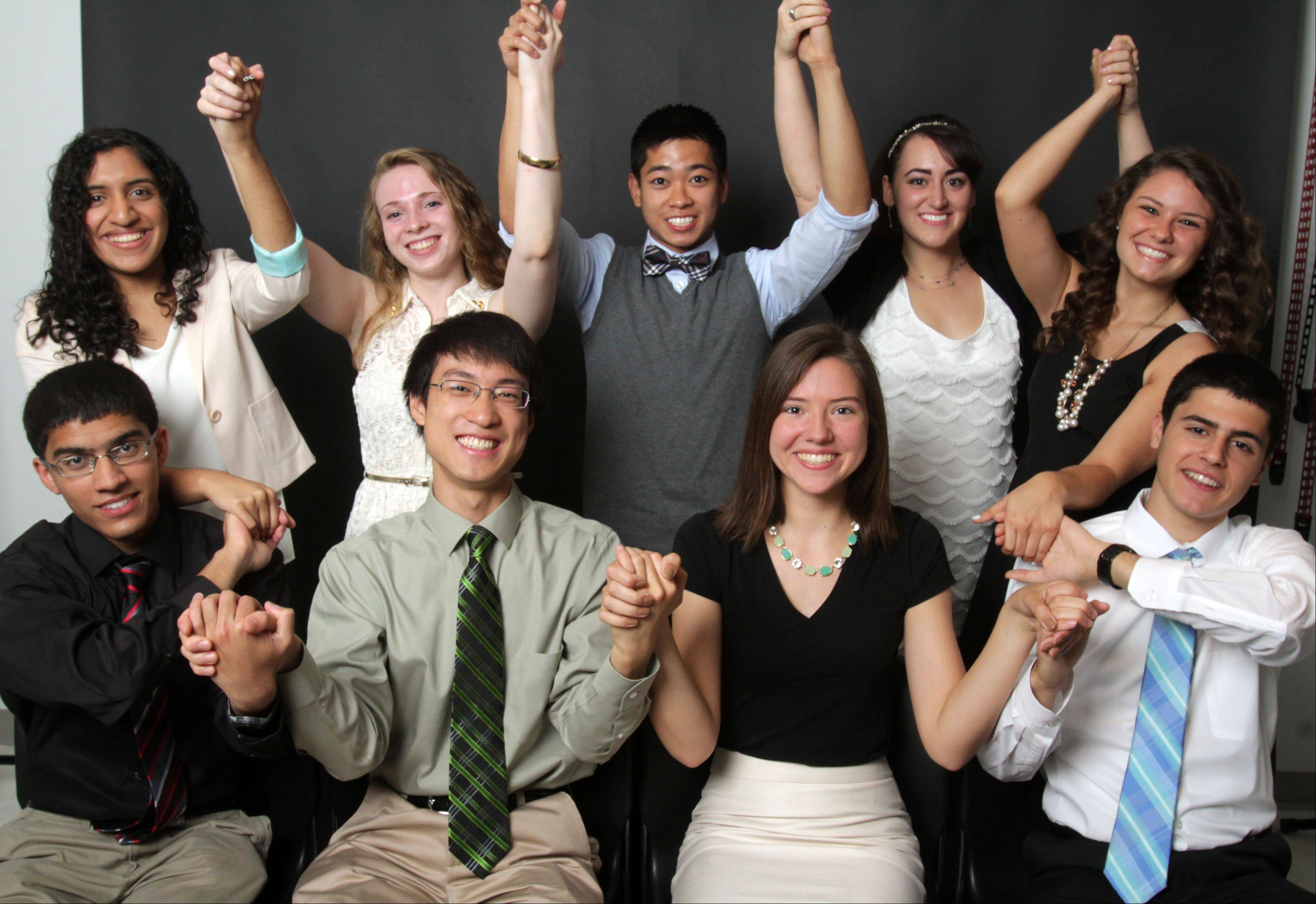 Meet the 2012-13 Daily Herald Lake County Academic Team. Front row, from left: Nishad Phadke, Libertyville High School; Justin Doong, Adlai E. Stevenson High School; Emma Casta�os, Warren Township High School; and Matthew Tabrizi, Vernon Hills High School. Back row, from left: Neeta Abraham, Warren Township High School; Adele Padgett, Adlai E. Stevenson High School; Daniel Santos and Brienne Lubor, both of Carmel Catholic High School; and Kaitlyn Norum, Grayslake North High School. Not pictured: Caitlin McCarthy, Woodlands Academy of the Sacred Heart.