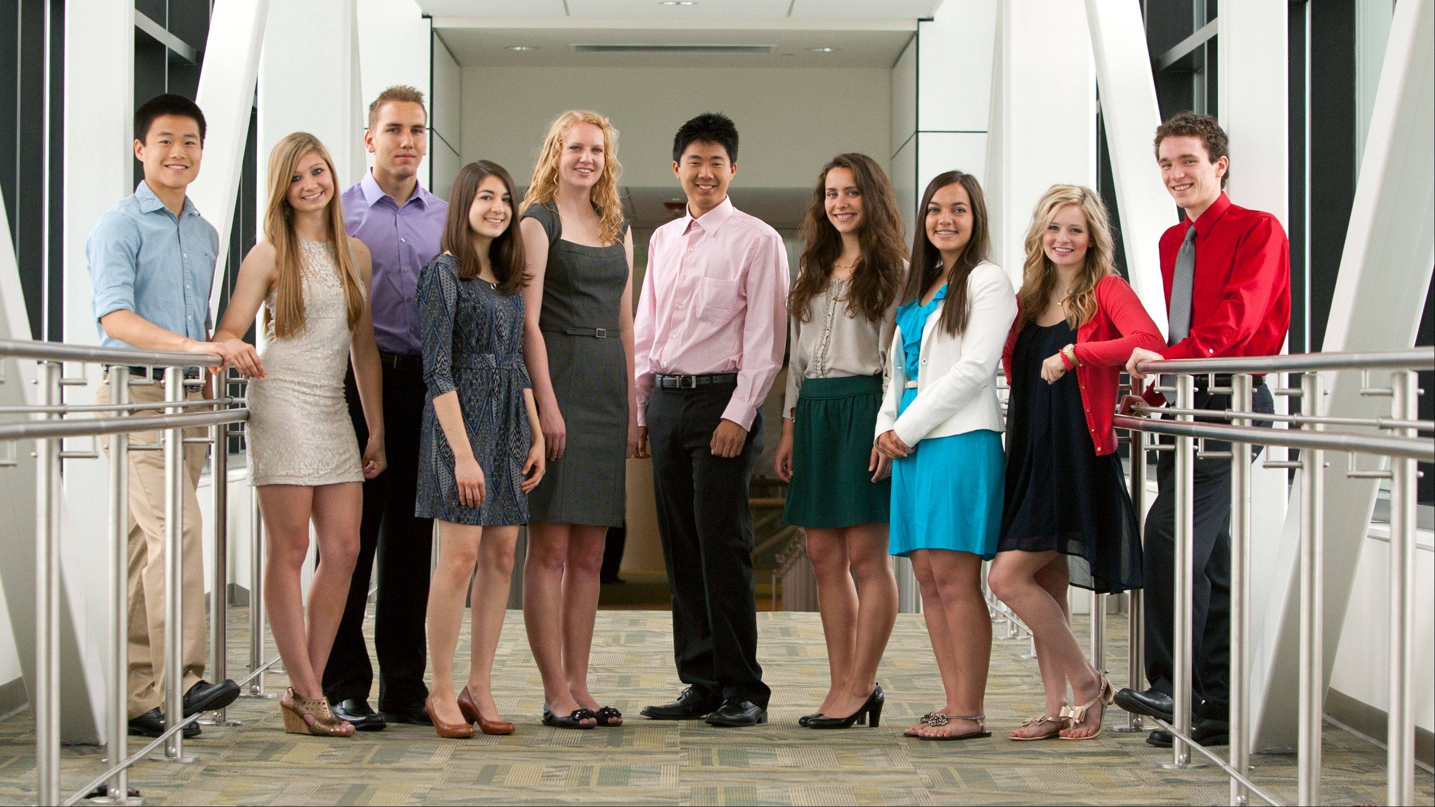 The 2012-2013 Daily Herald DuPage County Academic Team poses at the College of DuPage. From left: Danny Zhuang, Metea Valley High School; Jourdan Ewoldt, Glenbard East High School; Vassil Mladenov, Lake Park High School; Lucia Korpas, Naperville Central High School; Megan Knister, Hinsdale Central High School; Alex Liu, Neuqua Valley High School; Alana Osterling, Downers Grove North High School; Maria Arianas, Fenton High School; Cassandra Crifase, Addison Trail High School; and Andrew Bean, Glenbard South High School.
