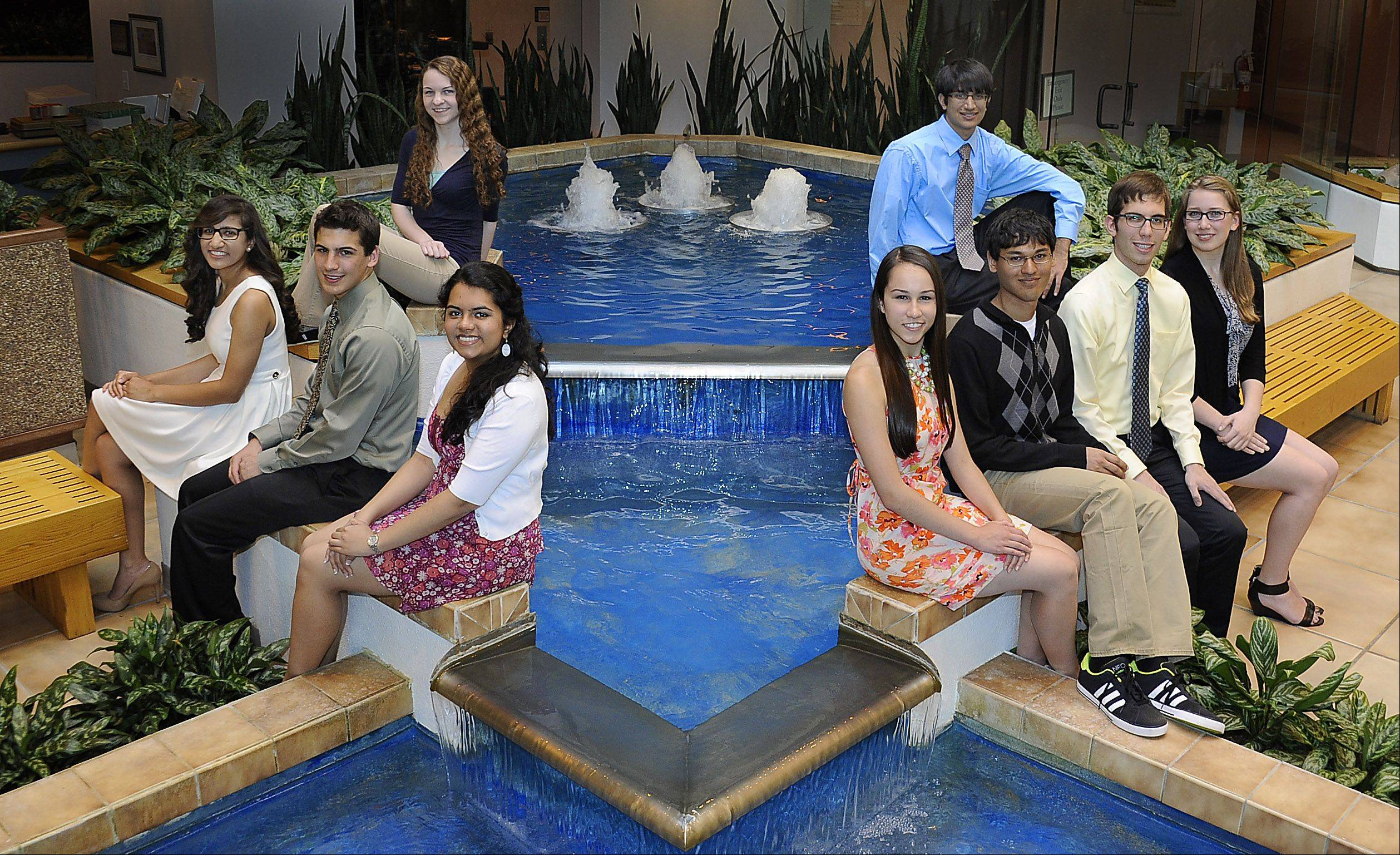 The 2012-2013 Northwest Suburban Academic team members. Top row, from left: Megan Rullo, Buffalo Grove High School, and Krush Patel, Hoffman Estates High School. Front row, from left: Sarah Merchant, Barrington High School; Thomas Palcheck, Schaumburg High School; Priyanka Kanal, William Fremd High School; Colleen O'Mahoney, Palatine High School; Vivek Shah, John Hersey High School; Maximilian Rohde, Prospect High School; and Darby Alise Dammeier, Wheeling High School. Not pictured: Benjamin Brissette, Maine West High School.