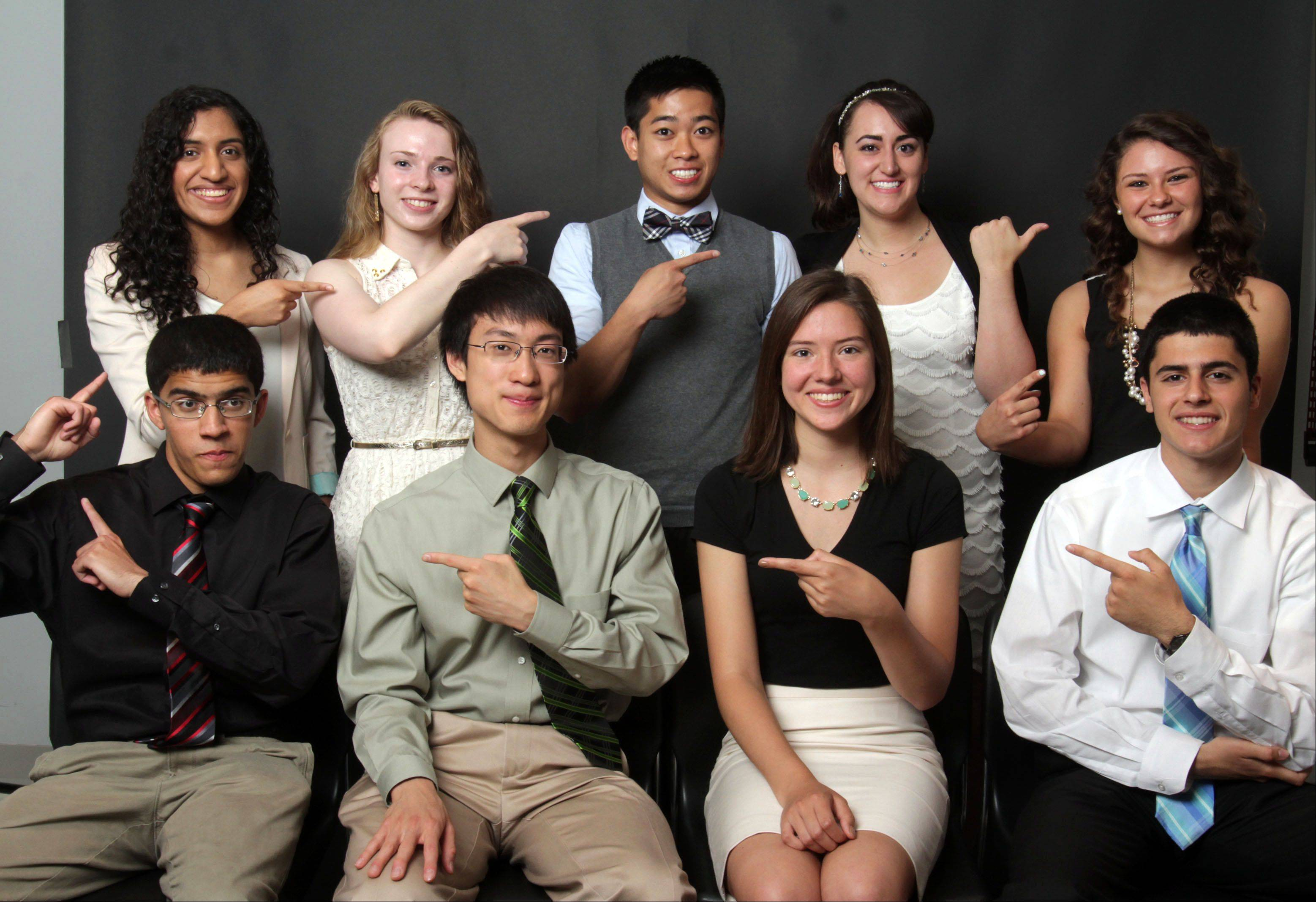The 2012-13 Daily Herald Lake County Academic Team is: (front row, left to right) Nishad Phadke of Libertyville High School, Justin Doong of Adlai E. Stevenson High School, Emma Castanos of Warren Township High School, Matthew Tabrizi of Vernon Hills High School, (back row left to right) Neeta Abraham of Warren Township High School, Adele Padgett of Adlai E. Stevenson High School, Daniel Santos of Carmel Catholic High School, Brienne Lubor of Carmel Catholic High School, and Kaitlyn Norum, Grayslake North High School.